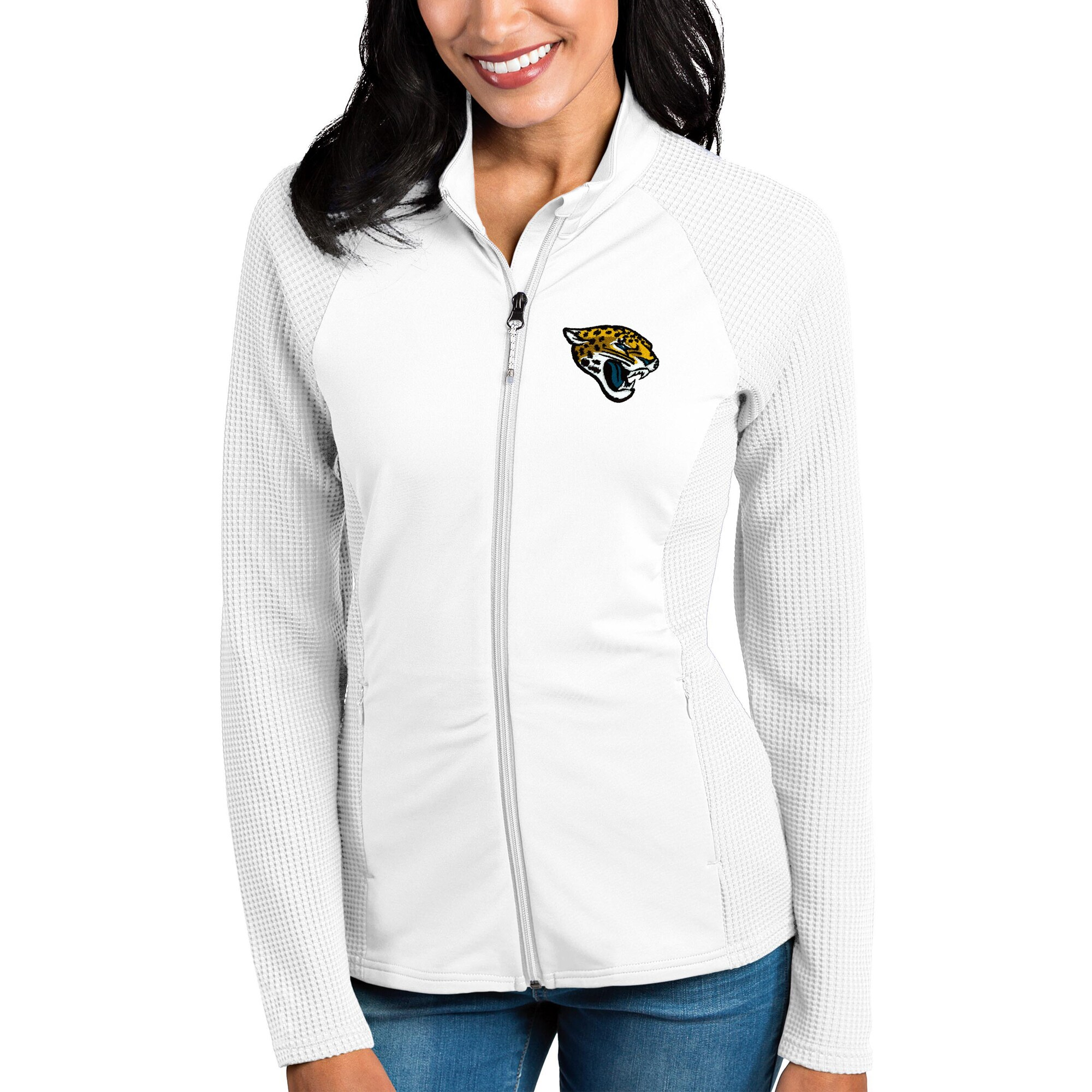 Jacksonville Jaguars Antigua Women's Sonar Full-Zip Jacket - White