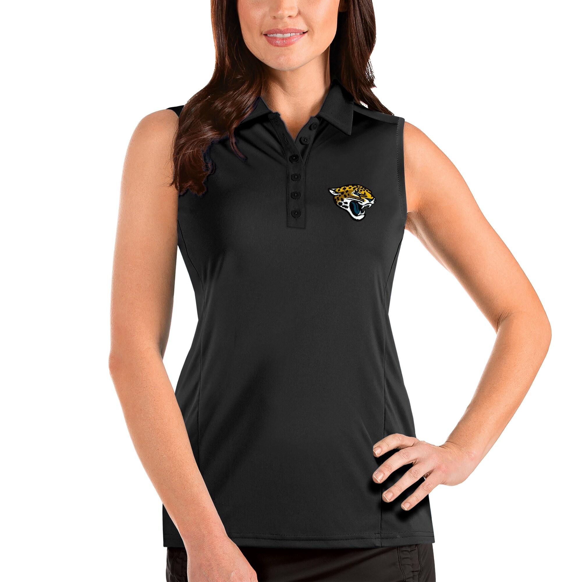 Jacksonville Jaguars Antigua Women's Sleeveless Tribute Polo - Black