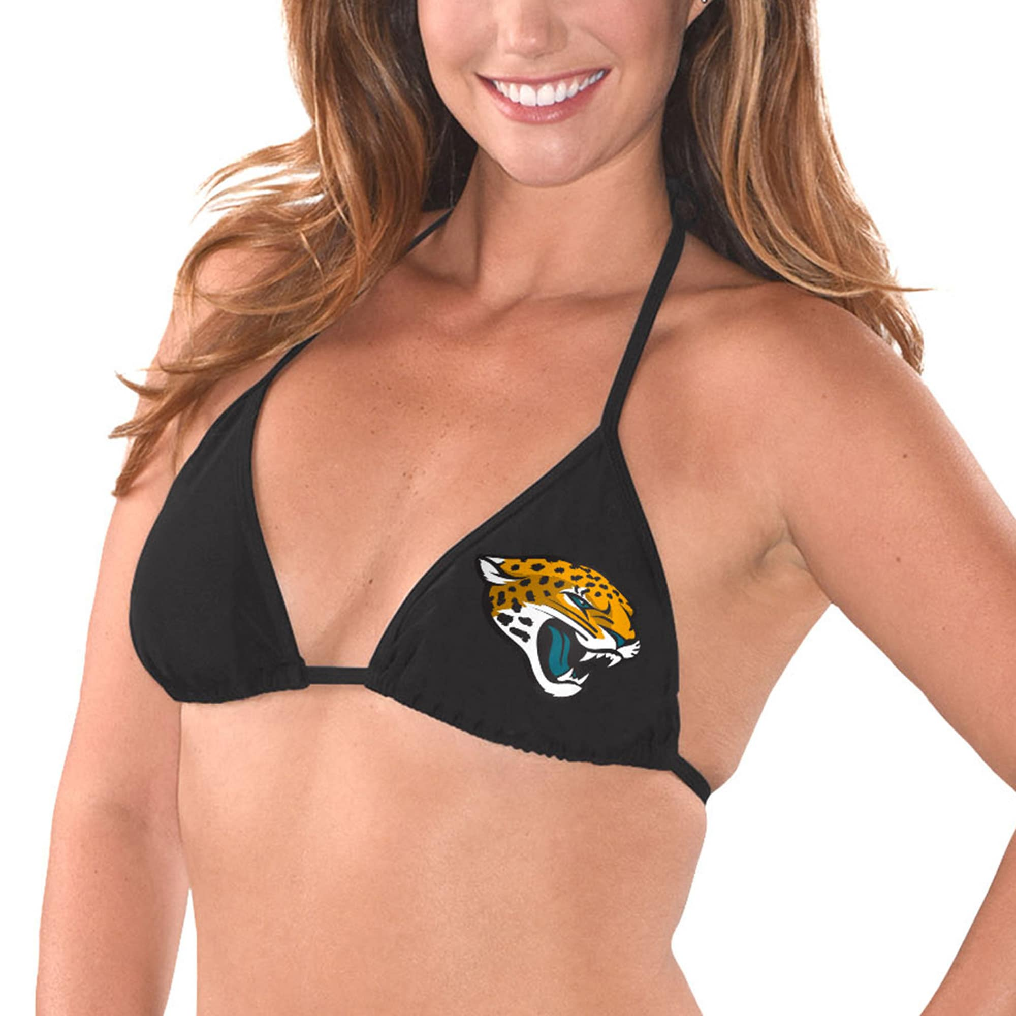 Jacksonville Jaguars G-III 4Her by Carl Banks Women's Breaking Waves Bikini Top - Black