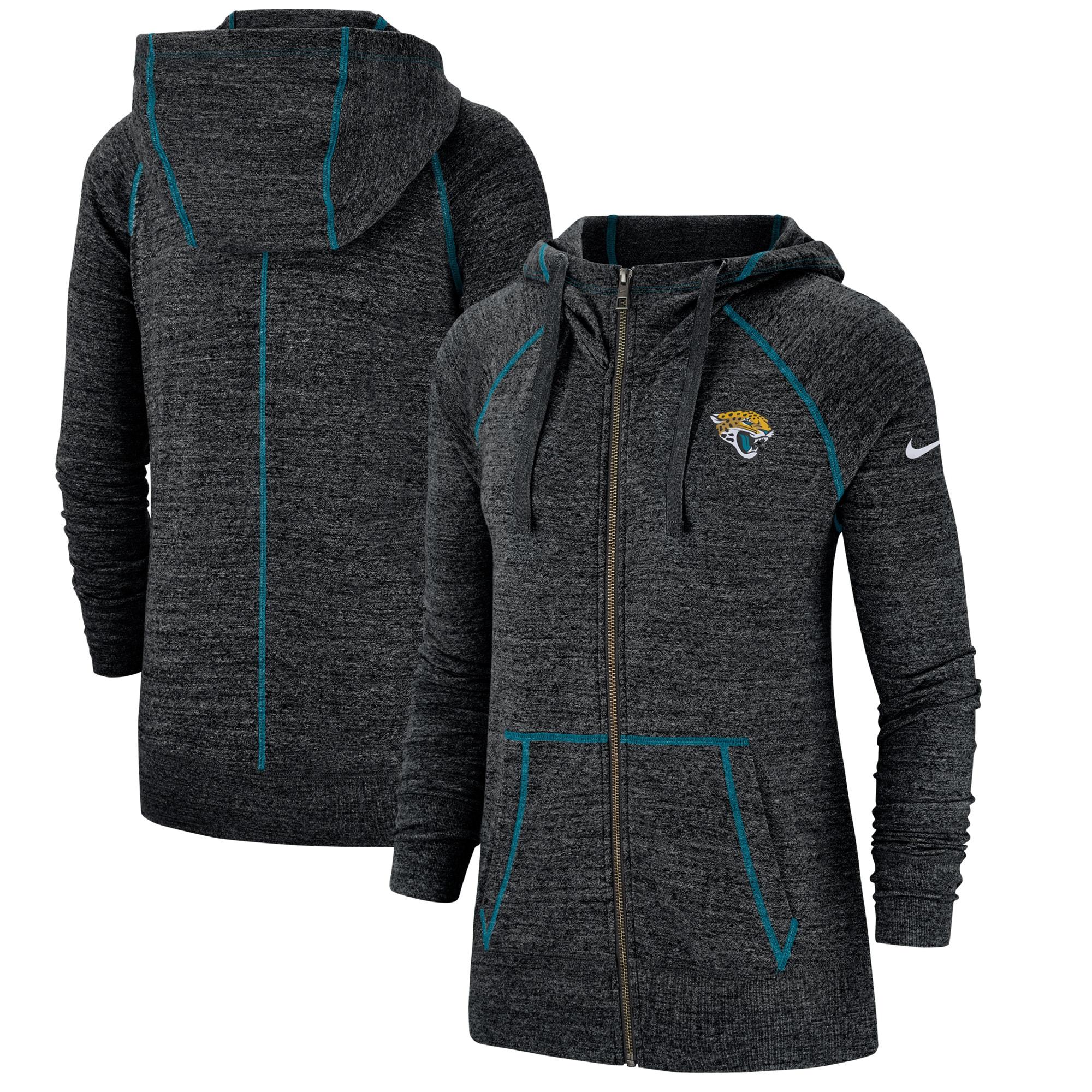 Jacksonville Jaguars Nike Women's Gym Vintage Raglan Full-Zip Hoodie - Heathered Black