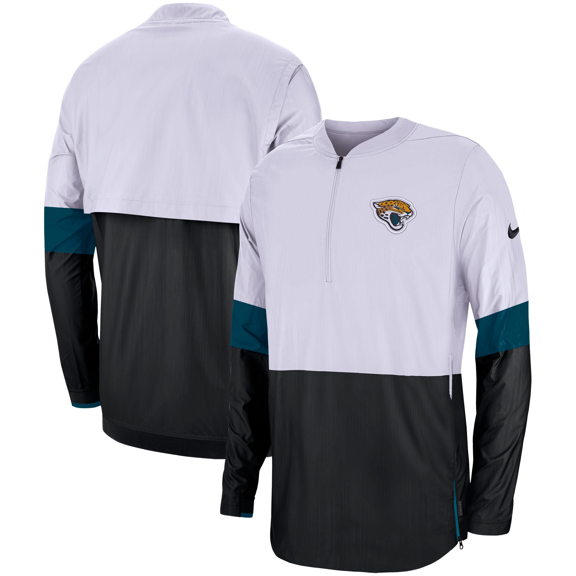 Jacksonville Jaguars Nike Sideline Coaches Half-Zip Pullover Jacket - White/Black
