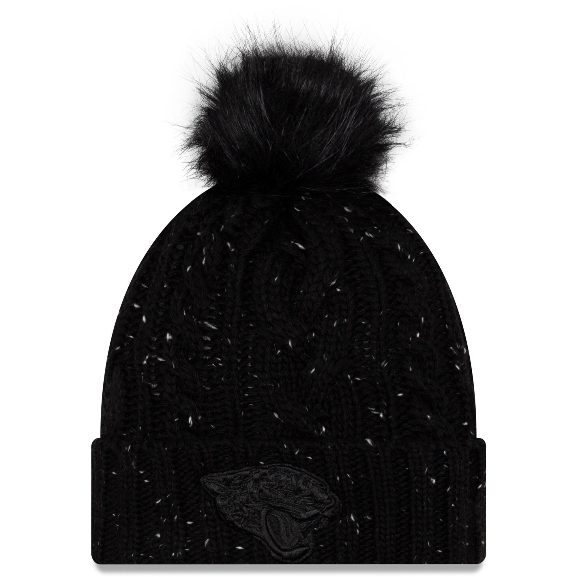 Jacksonville Jaguars New Era Women's Cuffed Knit Hat with Fuzzy Pom - Black