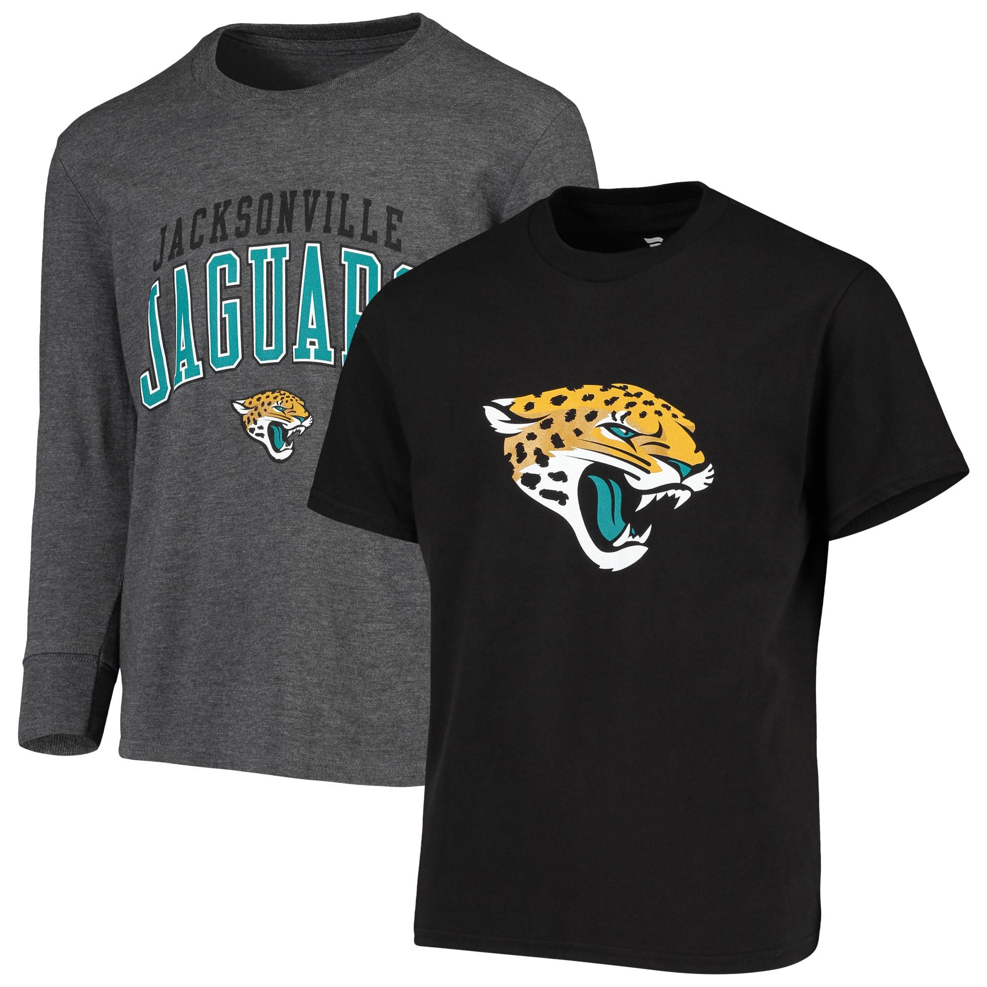Jacksonville Jaguars NFL Pro Line by Fanatics Branded Youth Short Sleeve & Long Sleeve T-Shirt Combo Pack - Black/Gray