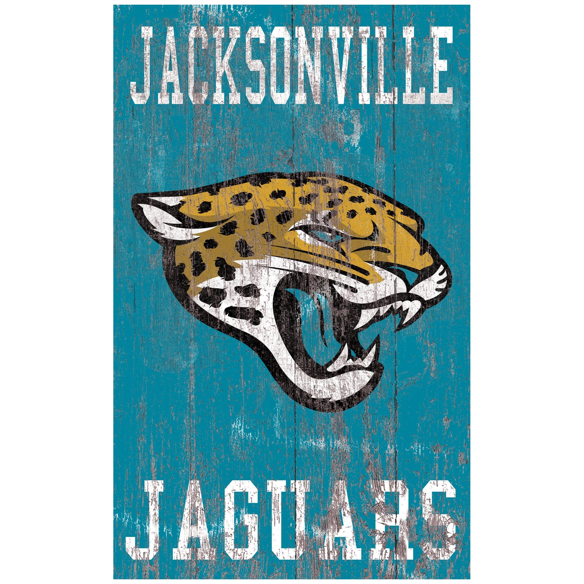 Jacksonville Jaguars 11'' x 19'' Heritage Distressed Logo Sign
