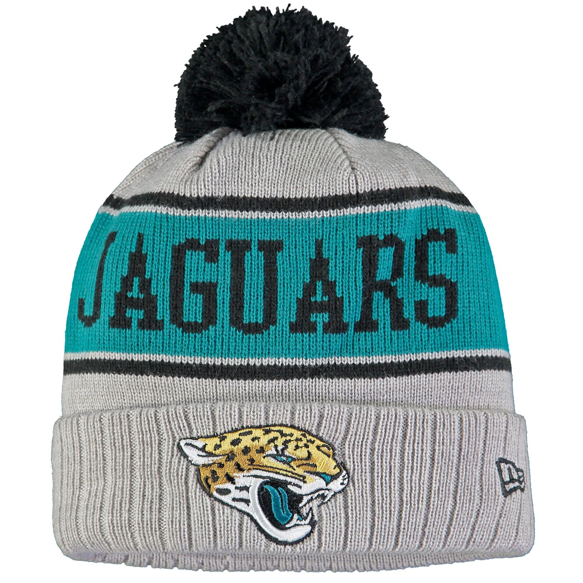 Jacksonville Jaguars New Era Stripe Cuffed Knit Hat with Pom - Gray
