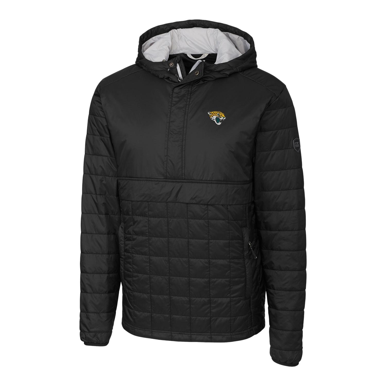 Jacksonville Jaguars Cutter & Buck Rainier Hooded Half-Zip Pullover Jacket - Black
