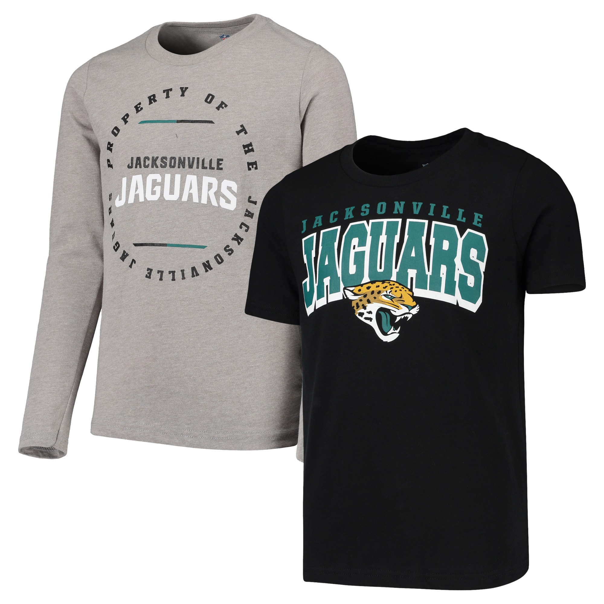 Jacksonville Jaguars Youth Club Short Sleeve & Long Sleeve T-Shirt Combo Pack - Black/Heathered Gray