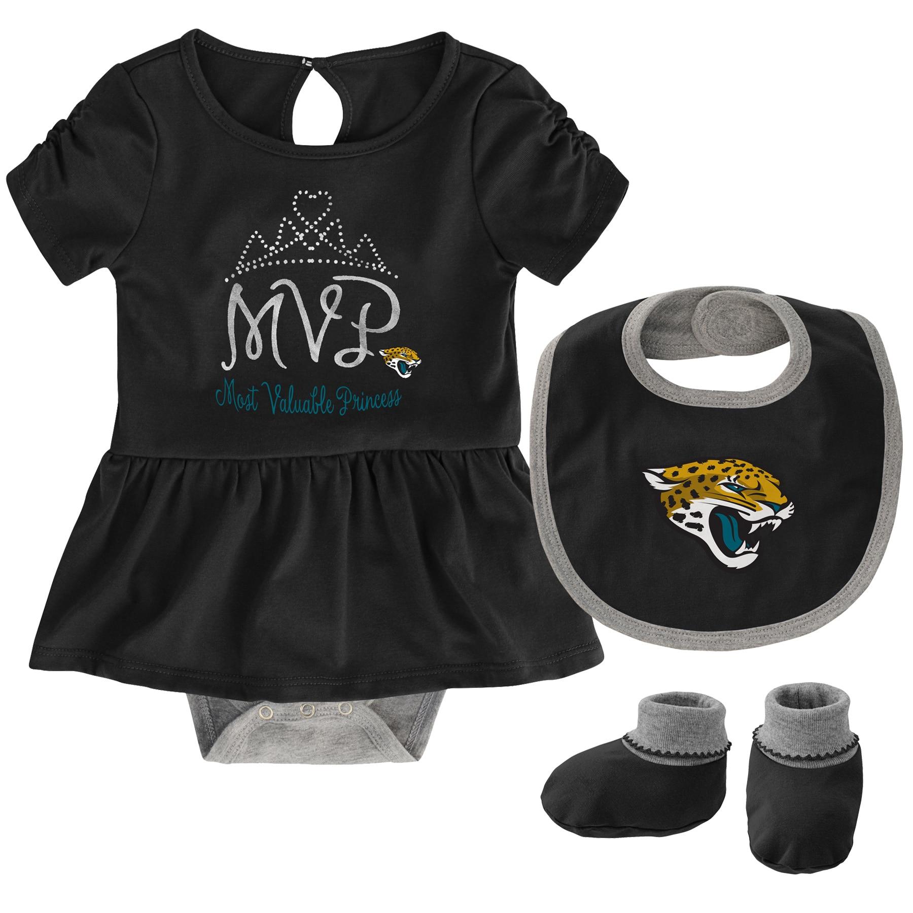 Jacksonville Jaguars Girls Newborn MVP Bodysuit, Bib & Booties Set - Black