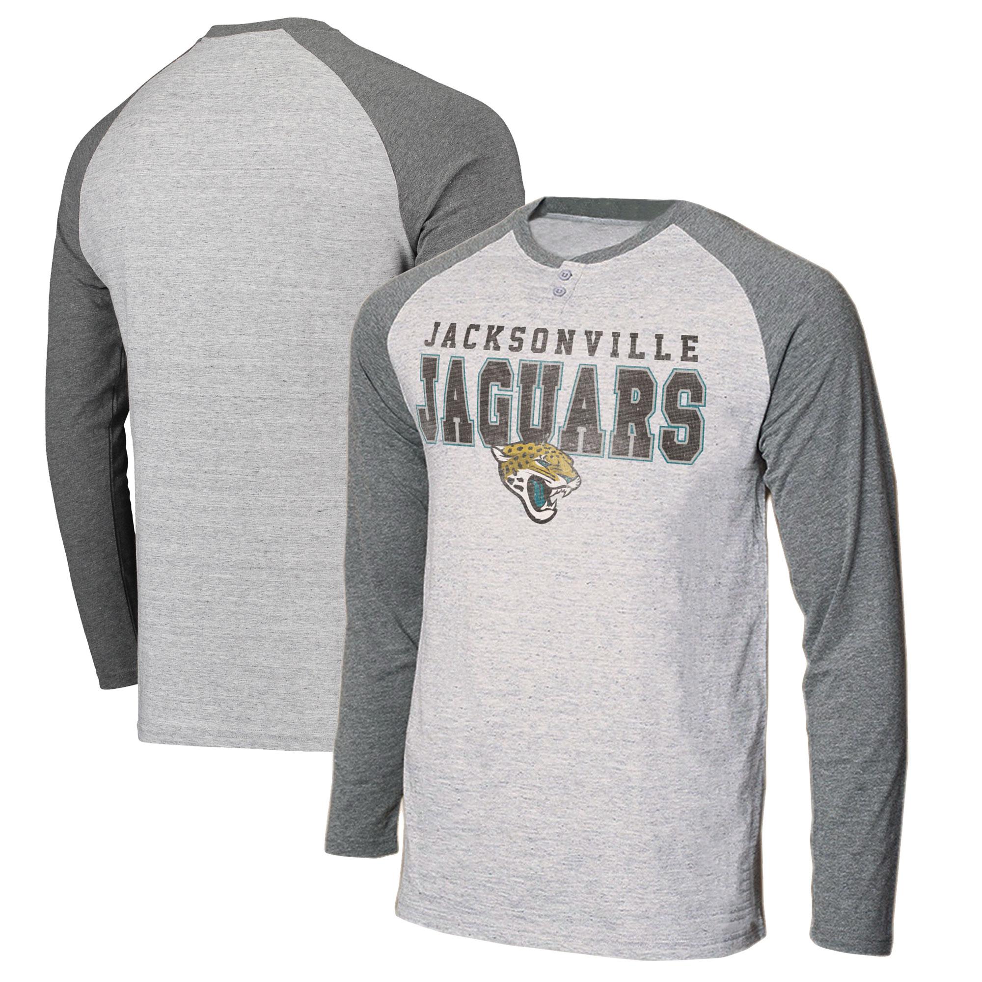 Jacksonville Jaguars Concepts Sport Hillstone Henley Raglan Long Sleeve T-Shirt - Heathered Gray/Heathered Charcoal