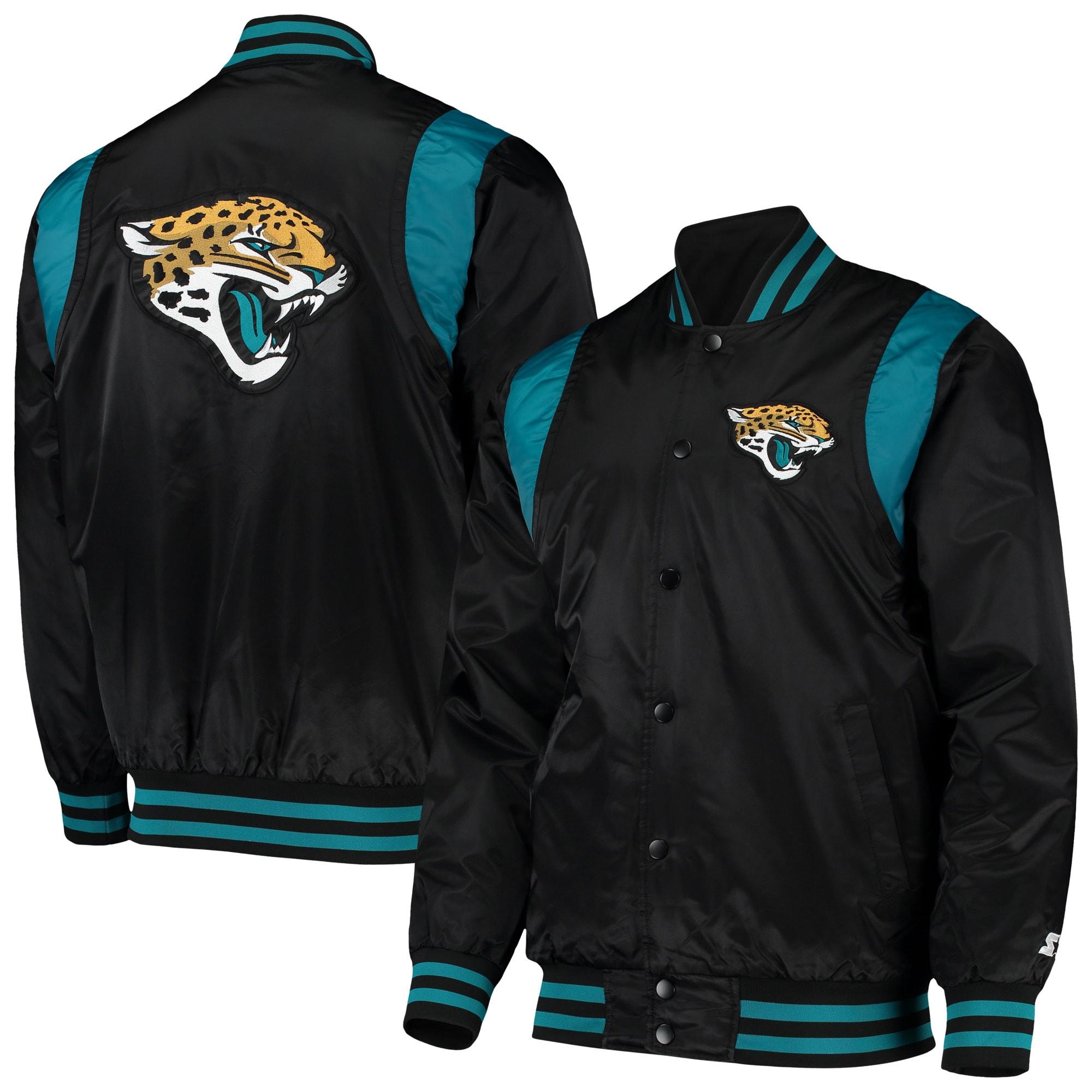 Jacksonville Jaguars Starter Prime Time Twill Satin Varsity Full-Snap Jacket - Black/Teal