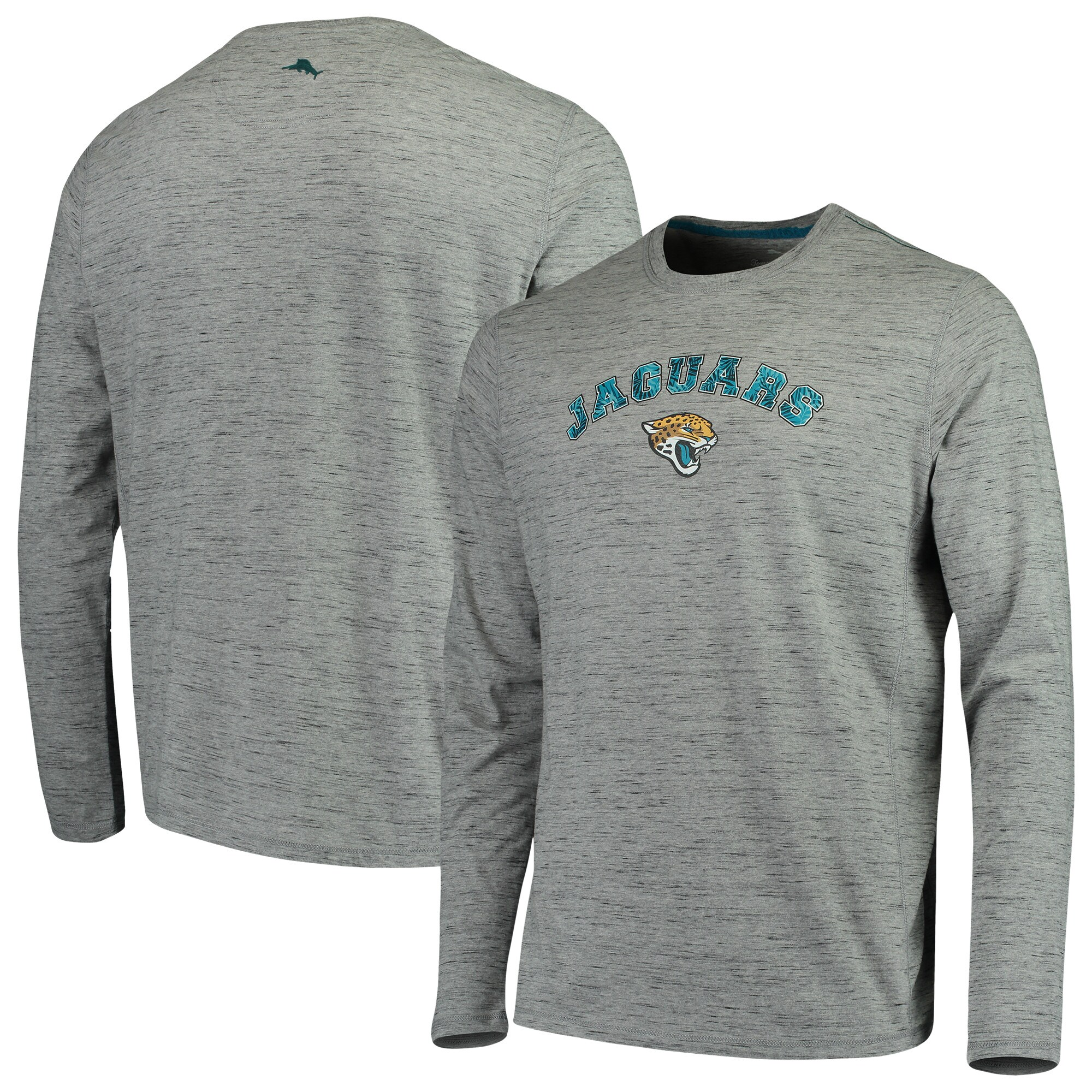 Jacksonville Jaguars Tommy Bahama Fronds In The Box Long Sleeve T-Shirt - Heathered Gray