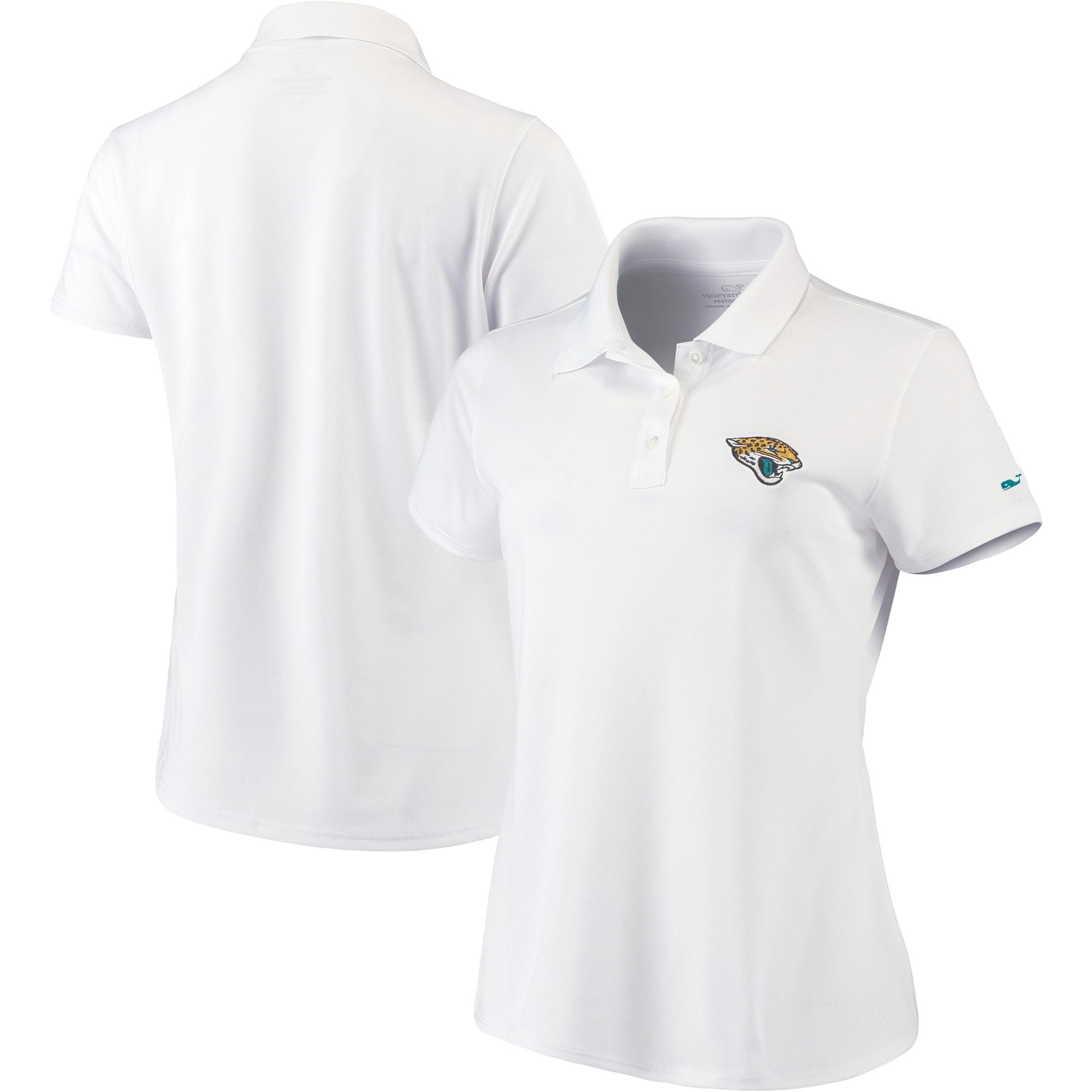 Jacksonville Jaguars Vineyard Vines Women's Pique Sport Performance Polo - White
