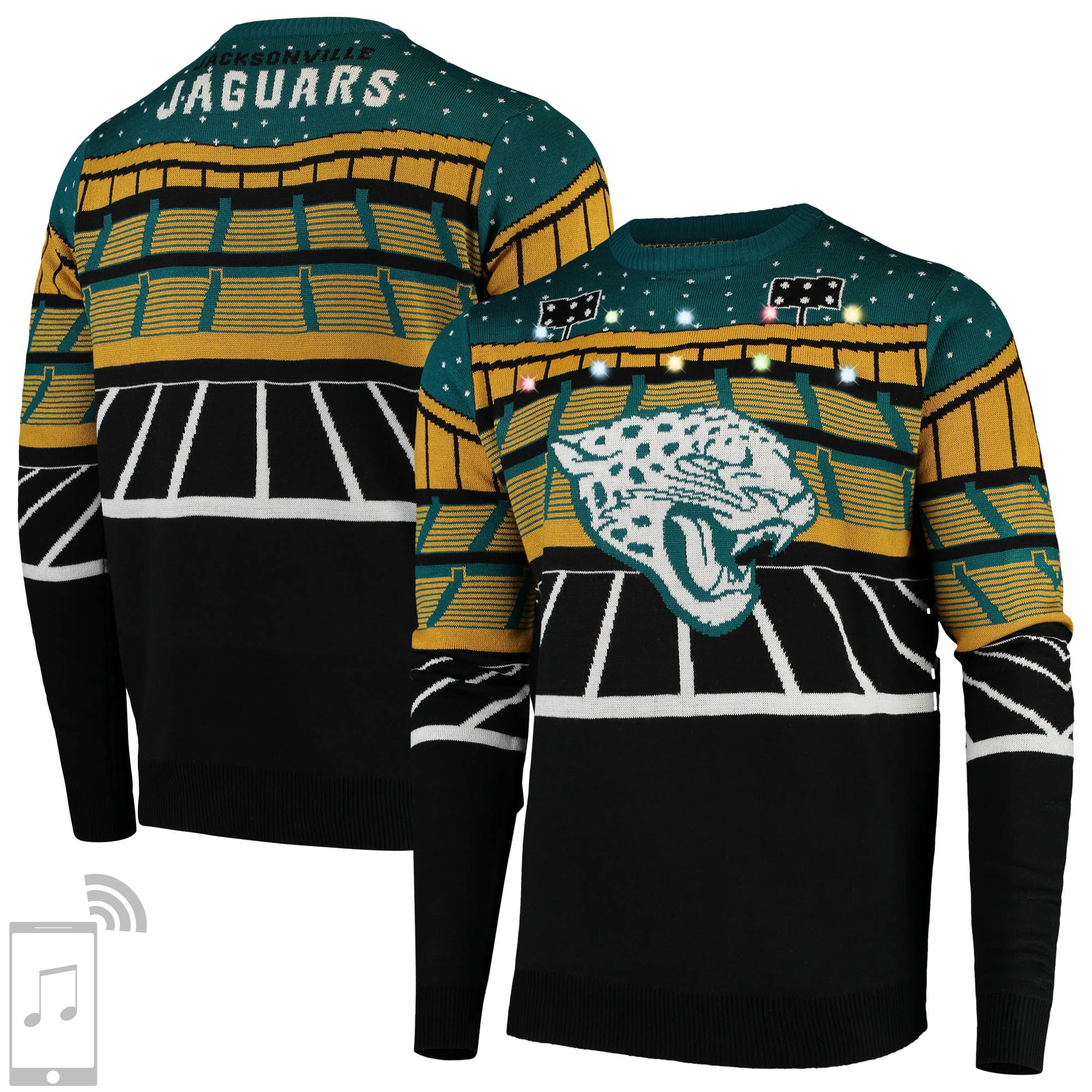 Jacksonville Jaguars Bluetooth Light Up Ugly Sweater - Black