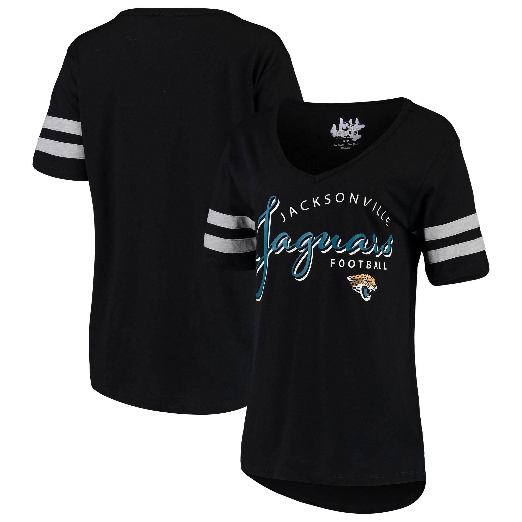 Jacksonville Jaguars Touch by Alyssa Milano Women's Triple Play V-Neck T-Shirt - Black