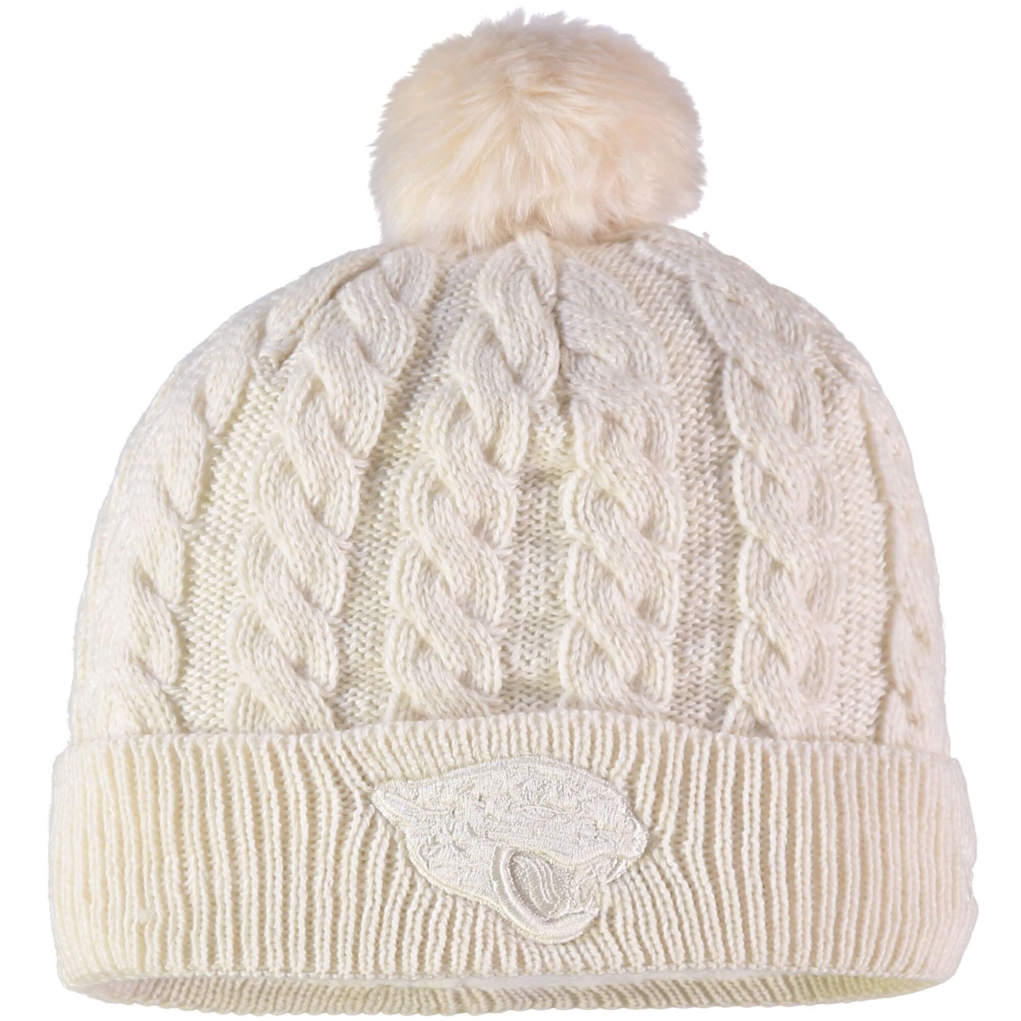 Jacksonville Jaguars New Era Women's Walcott Cuffed Knit Hat with Pom - Cream