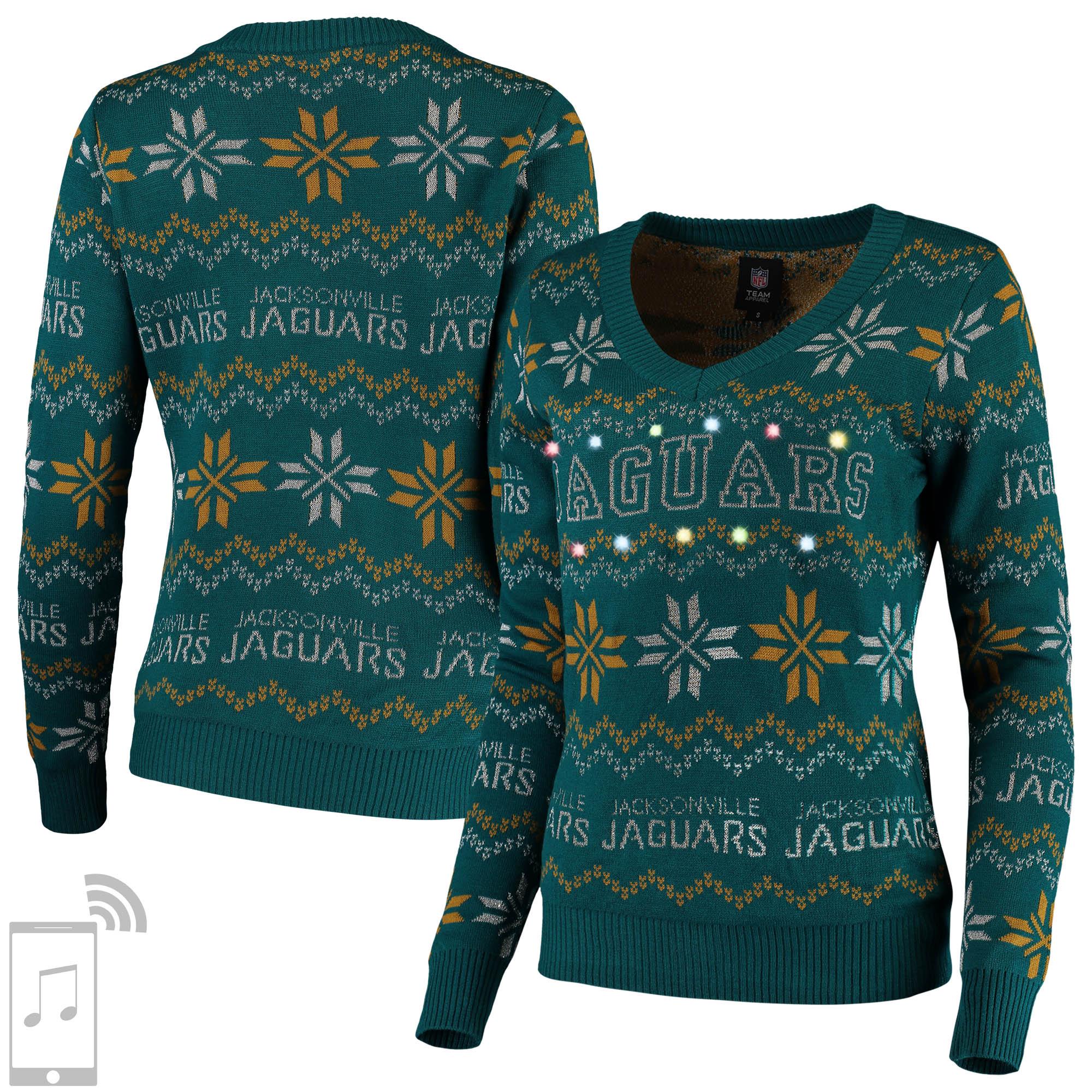 Jacksonville Jaguars Women's V-Neck Bluetooth Light Up Tri-Blend Ugly Sweater - Teal