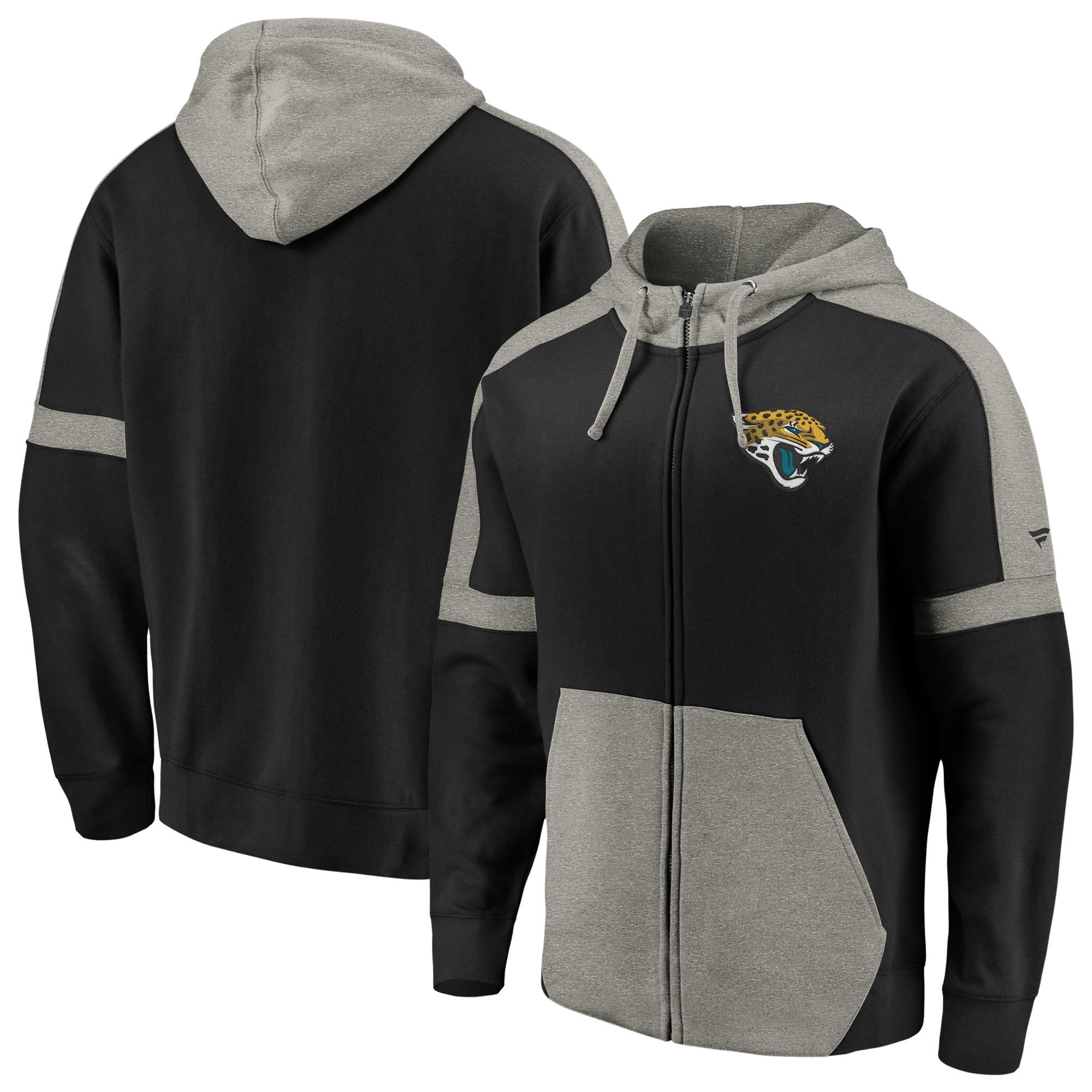 Jacksonville Jaguars NFL Pro Line by Fanatics Branded Big & Tall Iconic Full-Zip Hoodie - Black/Heathered Gray
