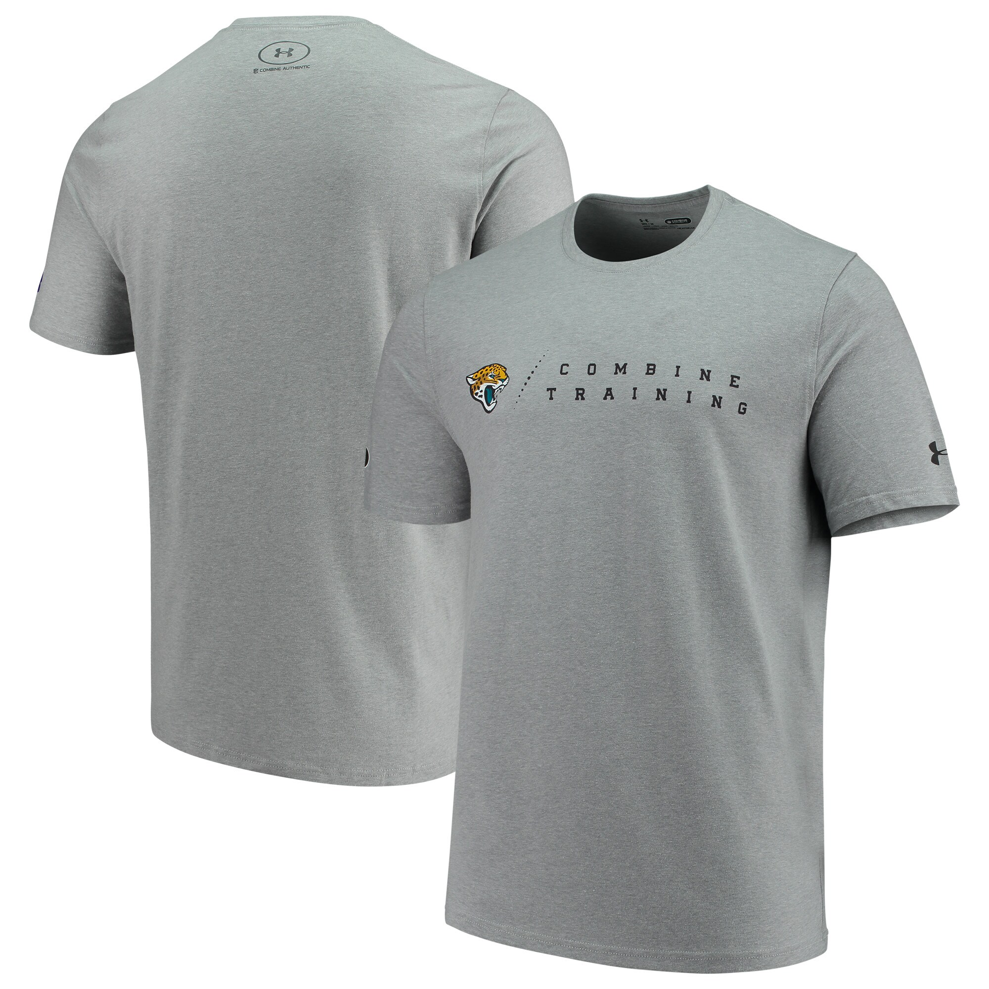 Jacksonville Jaguars Under Armour Combine Authentic Team Logo Training Tri-Blend Performance T-Shirt - Heathered Gray