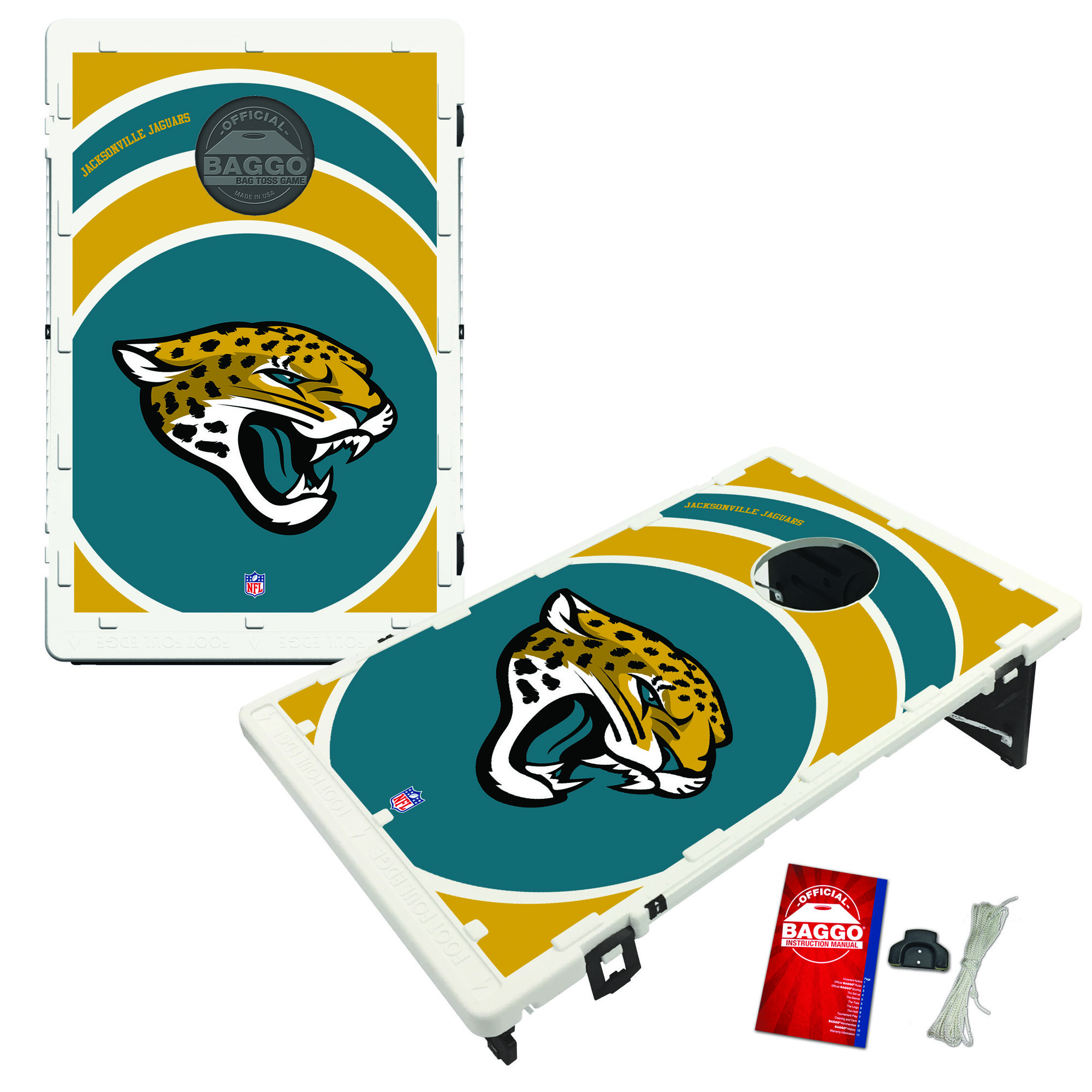 Jacksonville Jaguars 2' x 3' BAGGO Vortex Cornhole Board Tailgate Toss Set