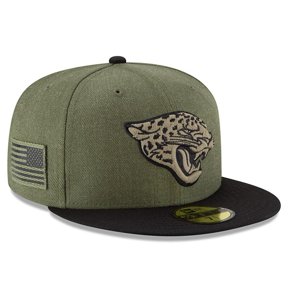 Jacksonville Jaguars New Era 2018 Salute to Service Sideline 59FIFTY Fitted Hat - Olive/Black