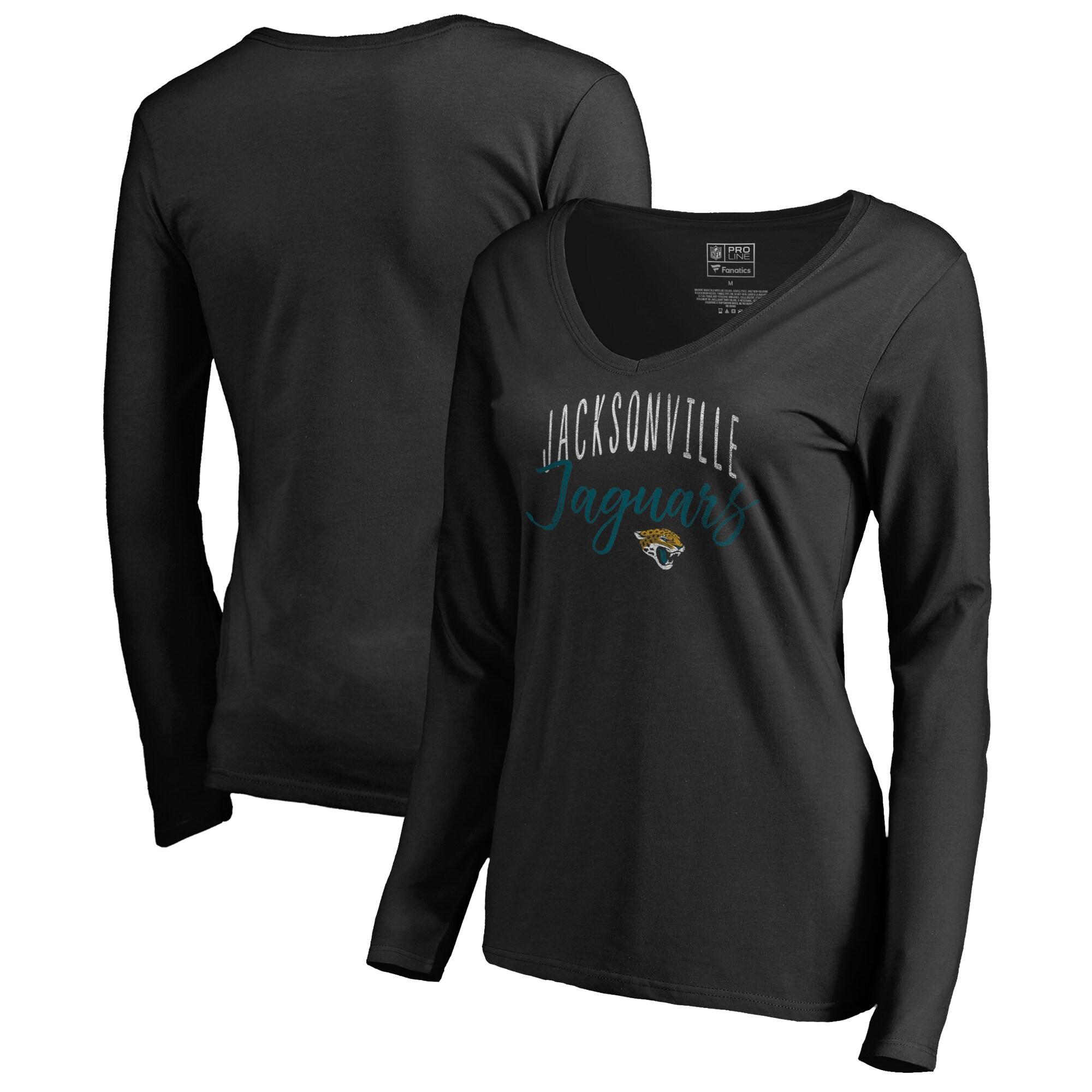 Jacksonville Jaguars NFL Pro Line by Fanatics Branded Women's Graceful Long Sleeve V-Neck T-Shirt - Black