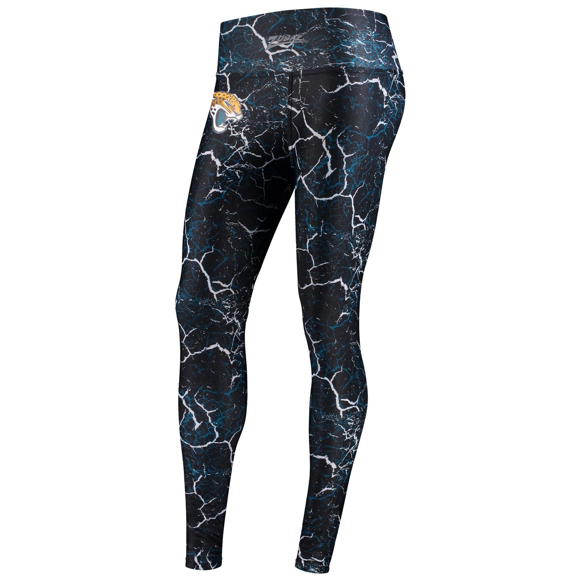 Jacksonville Jaguars Zubaz Women's Marble Leggings - Black/Teal