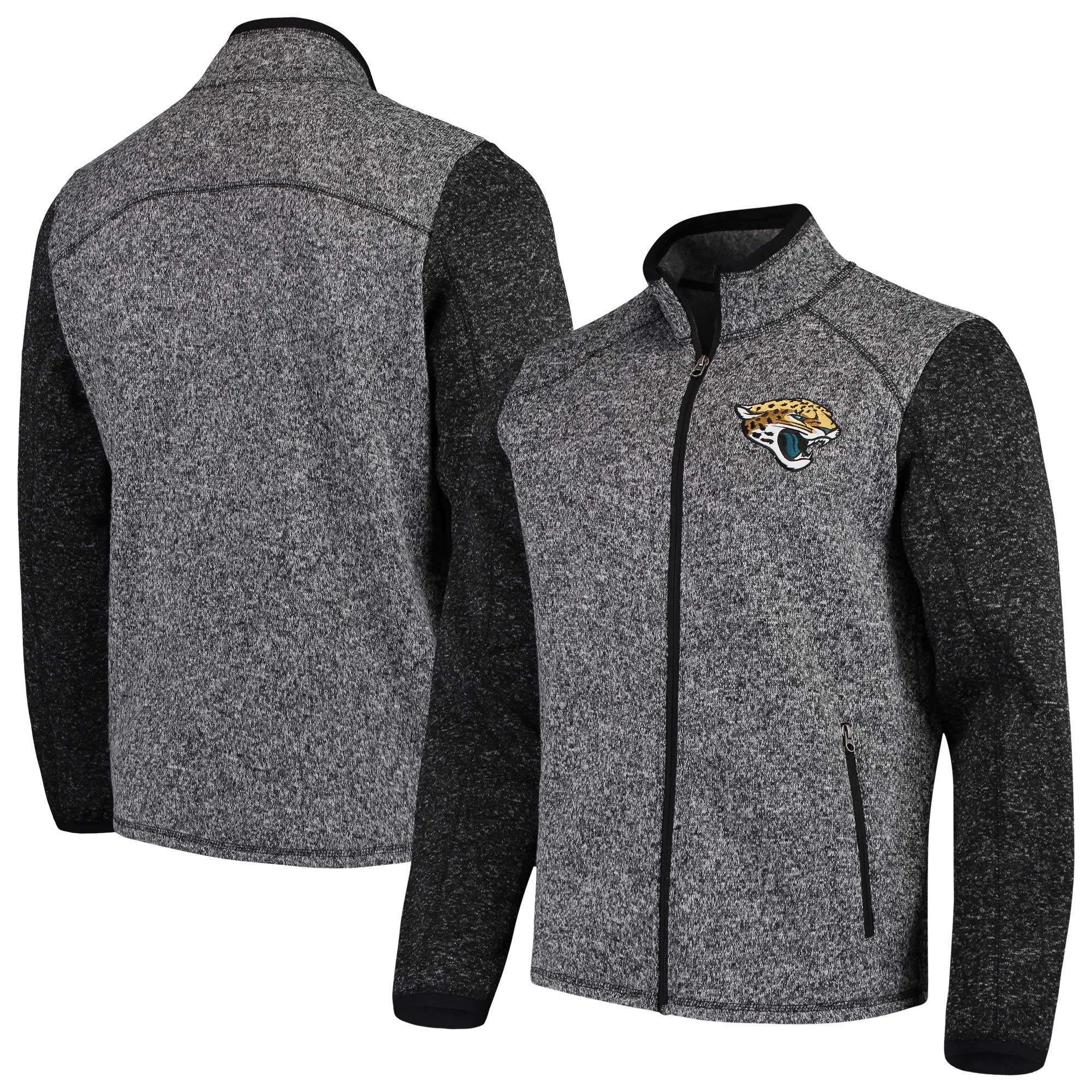 Jacksonville Jaguars G-III Sports by Carl Banks Alpine Zone Sweater Fleece Full-Zip Jacket - Heathered Charcoal