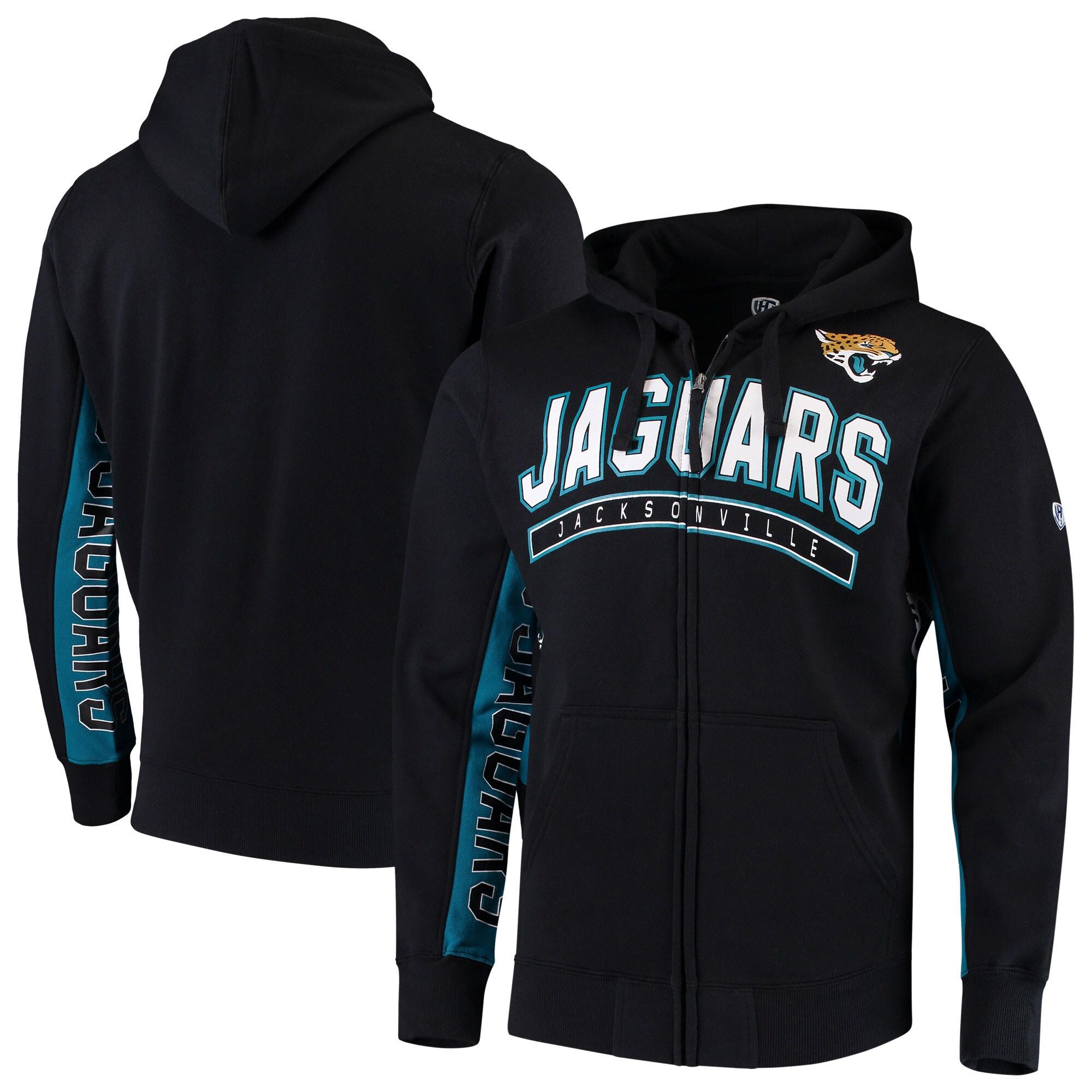 Jacksonville Jaguars Hands High Blowout Full-Zip Hoodie - Black/Teal