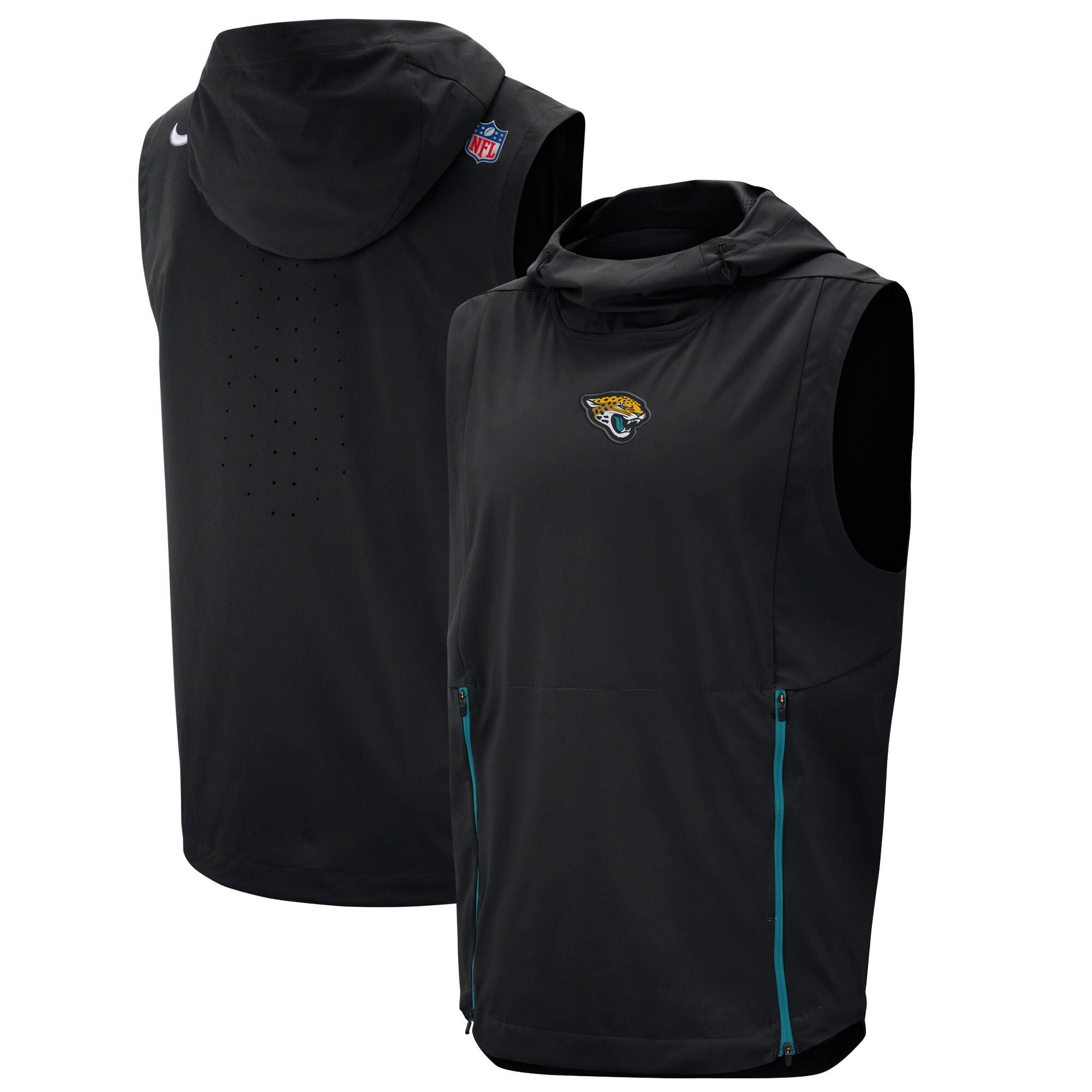 Jacksonville Jaguars Nike Sideline Fly Rush Performance Pullover Hooded Vest - Black