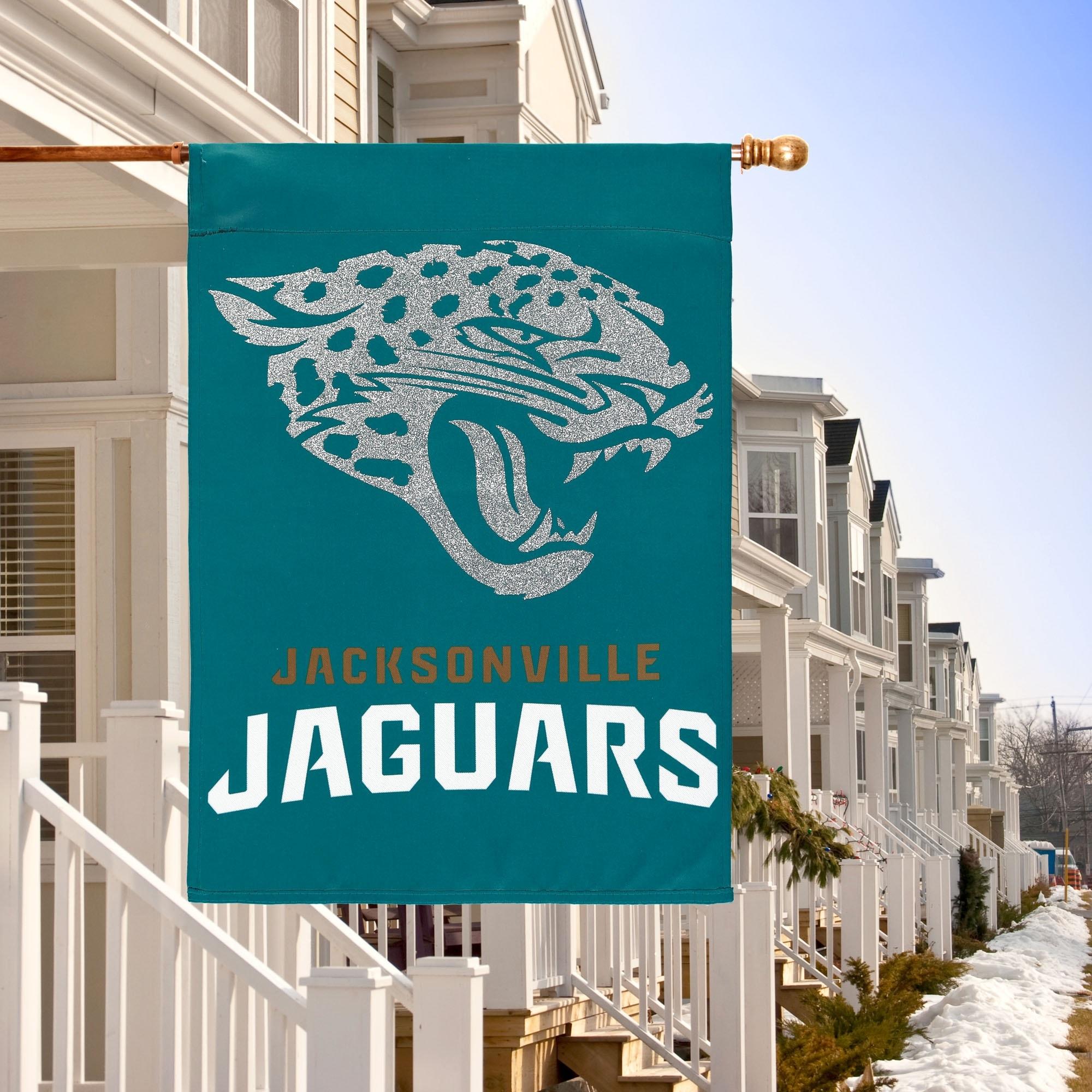 Jacksonville Jaguars Glitter Suede Garden Flag