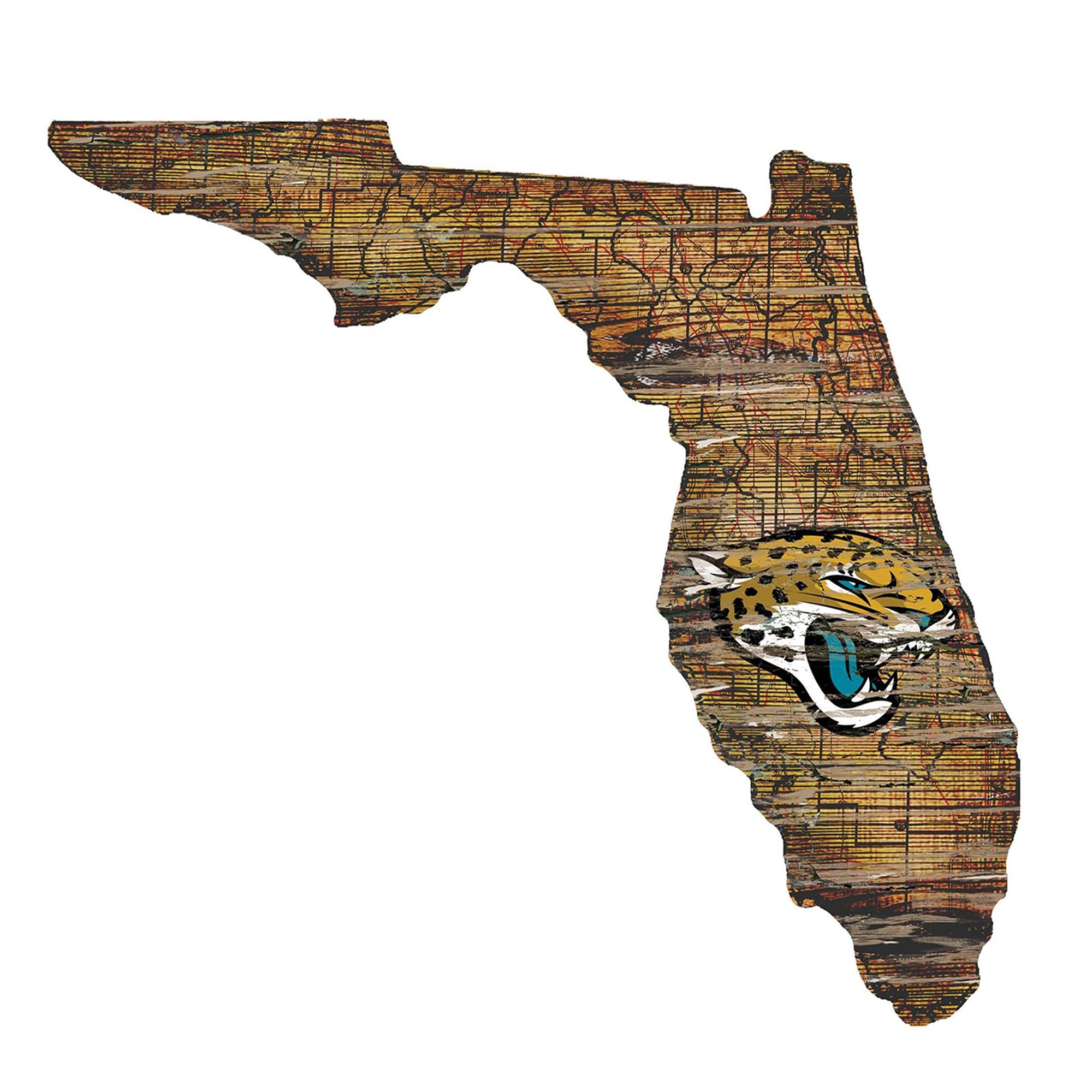 """Jacksonville Jaguars 23.5"""" x 23.5"""" Distressed State with Logo Sign"""