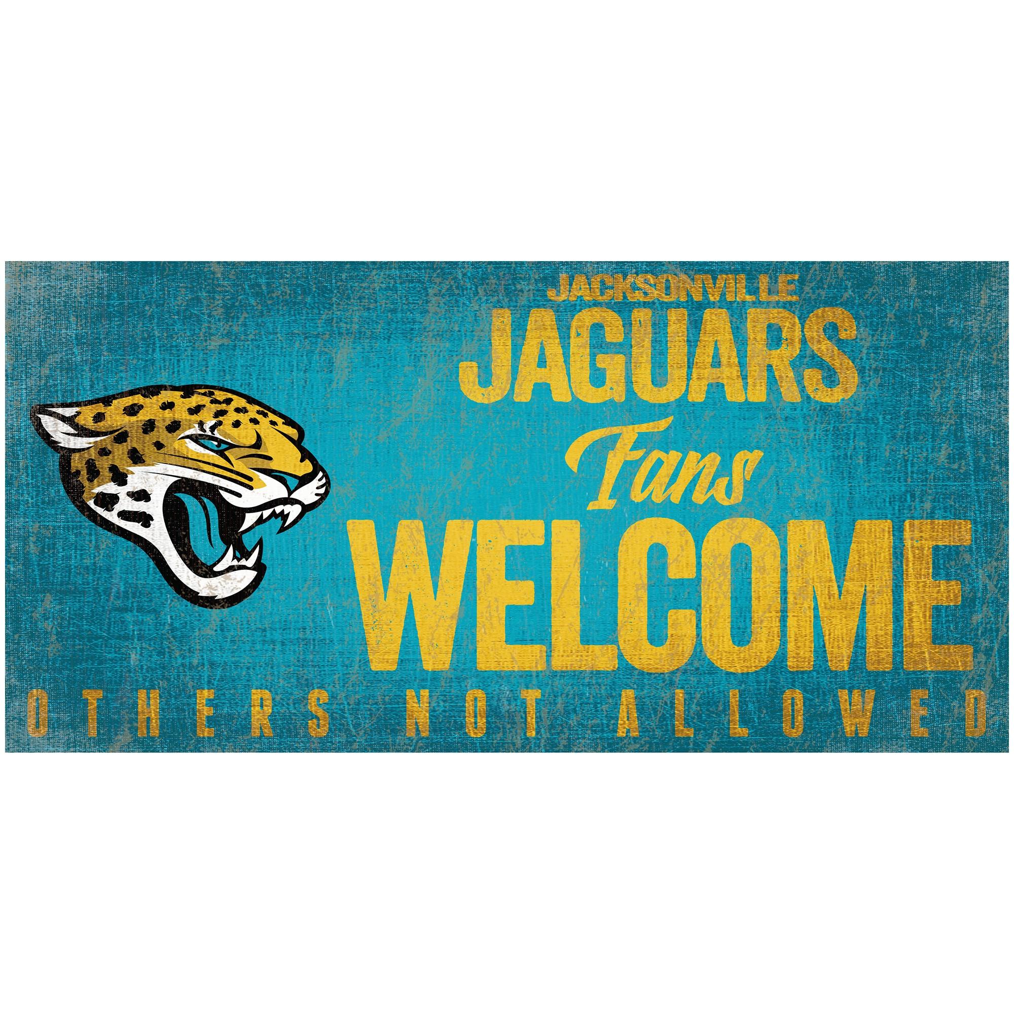 """Jacksonville Jaguars 6"""" x 12"""" Fans Welcome Sign"""