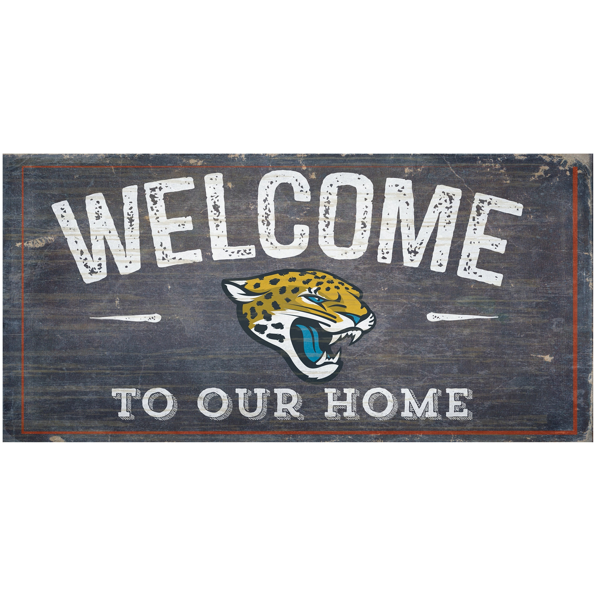 """Jacksonville Jaguars 6"""" x 12"""" Welcome To Our Home Sign"""