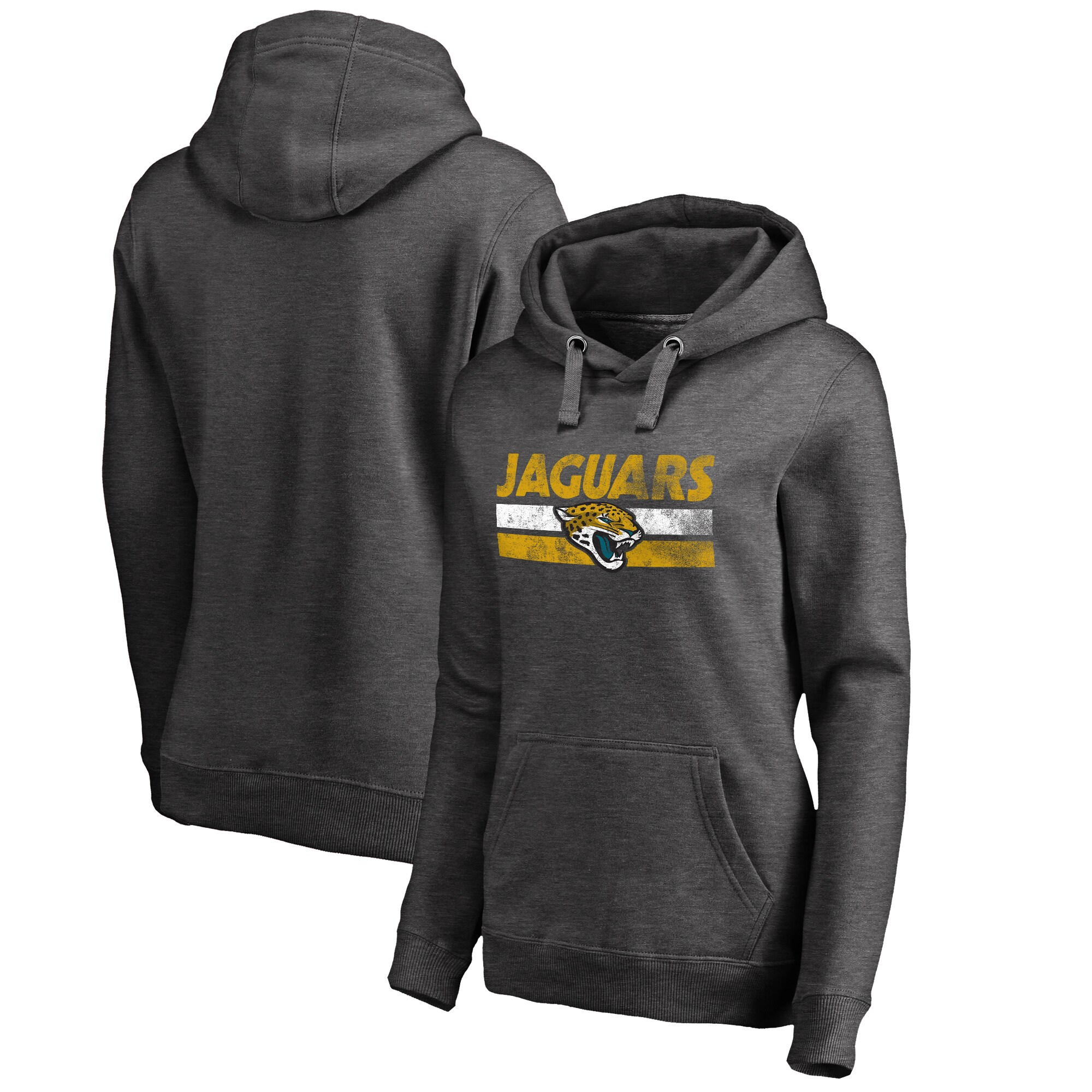 Jacksonville Jaguars NFL Pro Line by Fanatics Branded Women's Plus Sizes First String Pullover Hoodie - Charcoal