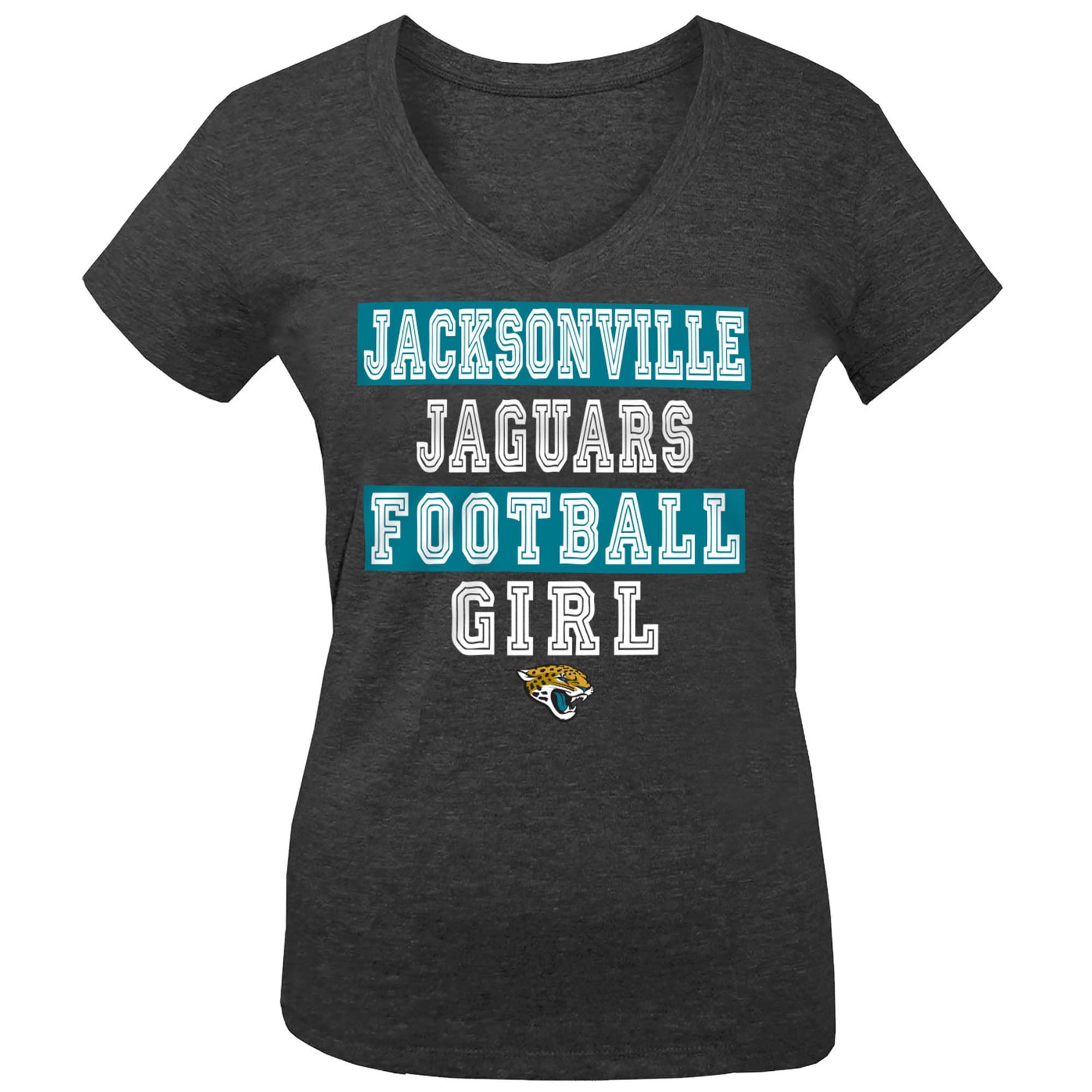 Jacksonville Jaguars 5th & Ocean by New Era Girls Youth Football Girl Tri-Blend V-Neck T-Shirt - Black