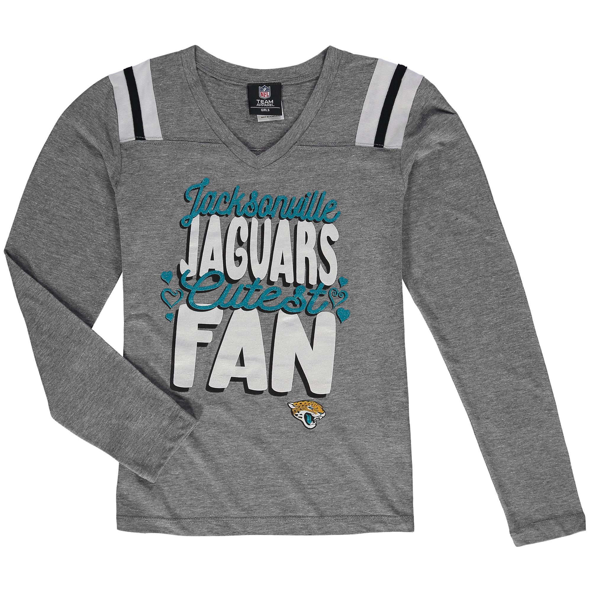 Jacksonville Jaguars 5th & Ocean by New Era Girls Youth Cutest Fan Tri-Blend V-Neck Long Sleeve T-Shirt - Heathered Gray