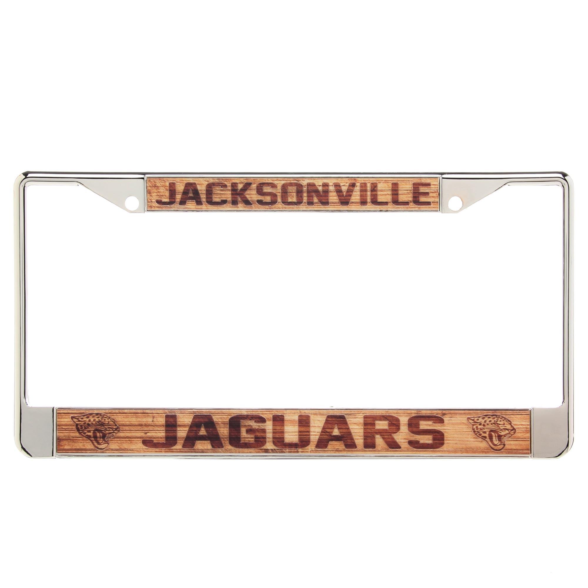 Jacksonville Jaguars Wood Design Acrylic License Plate Frame