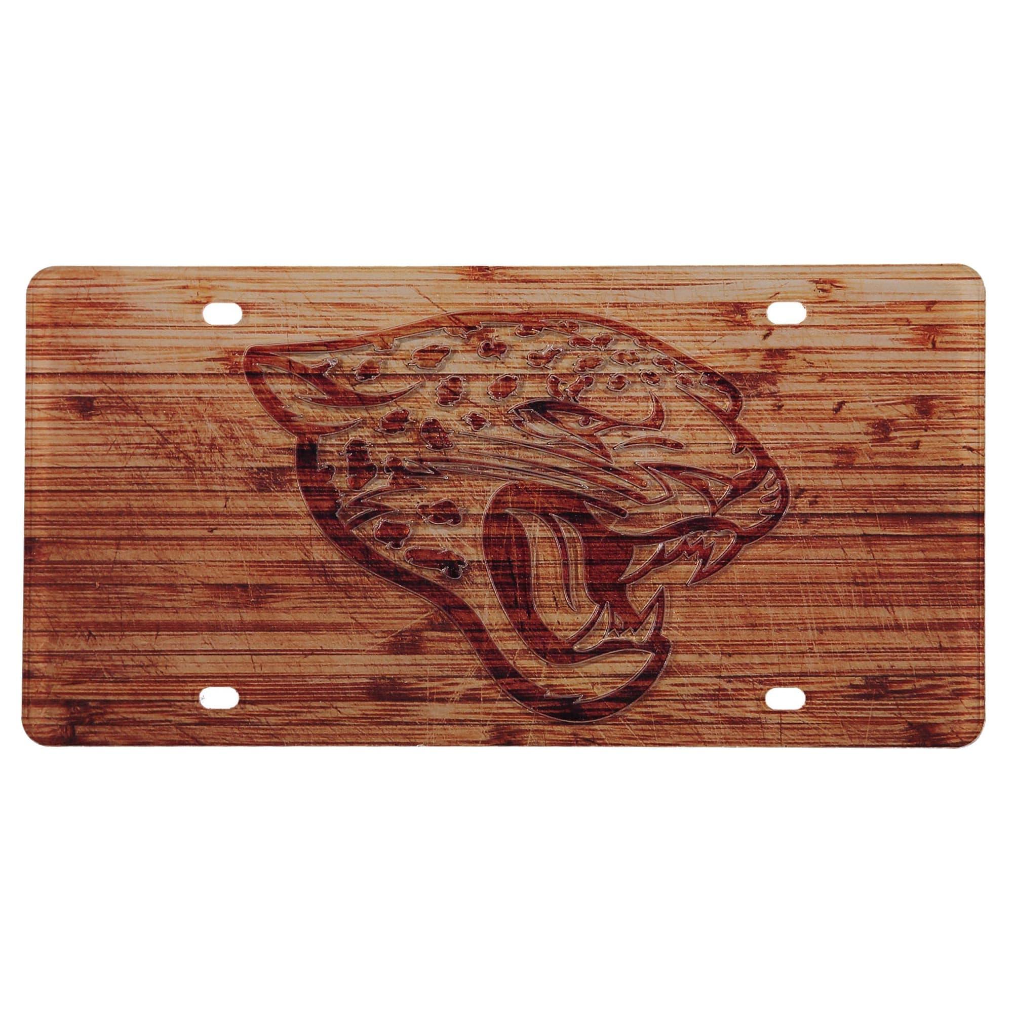 Jacksonville Jaguars Wood Design Acrylic License Plate