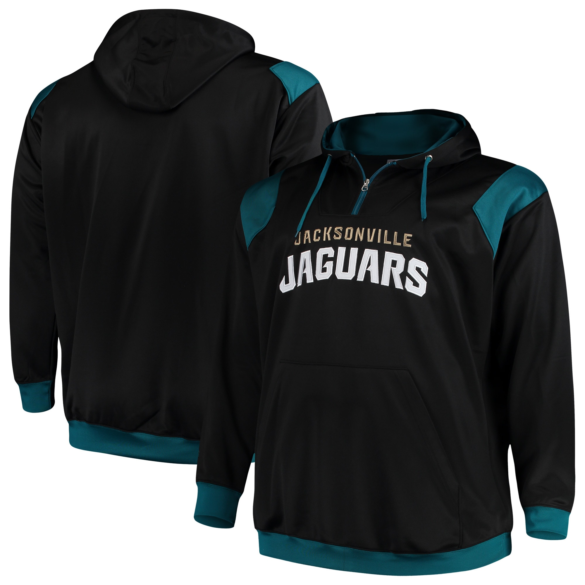 Jacksonville Jaguars Majestic Big & Tall 1/4-Zip Pullover Hoodie - Black