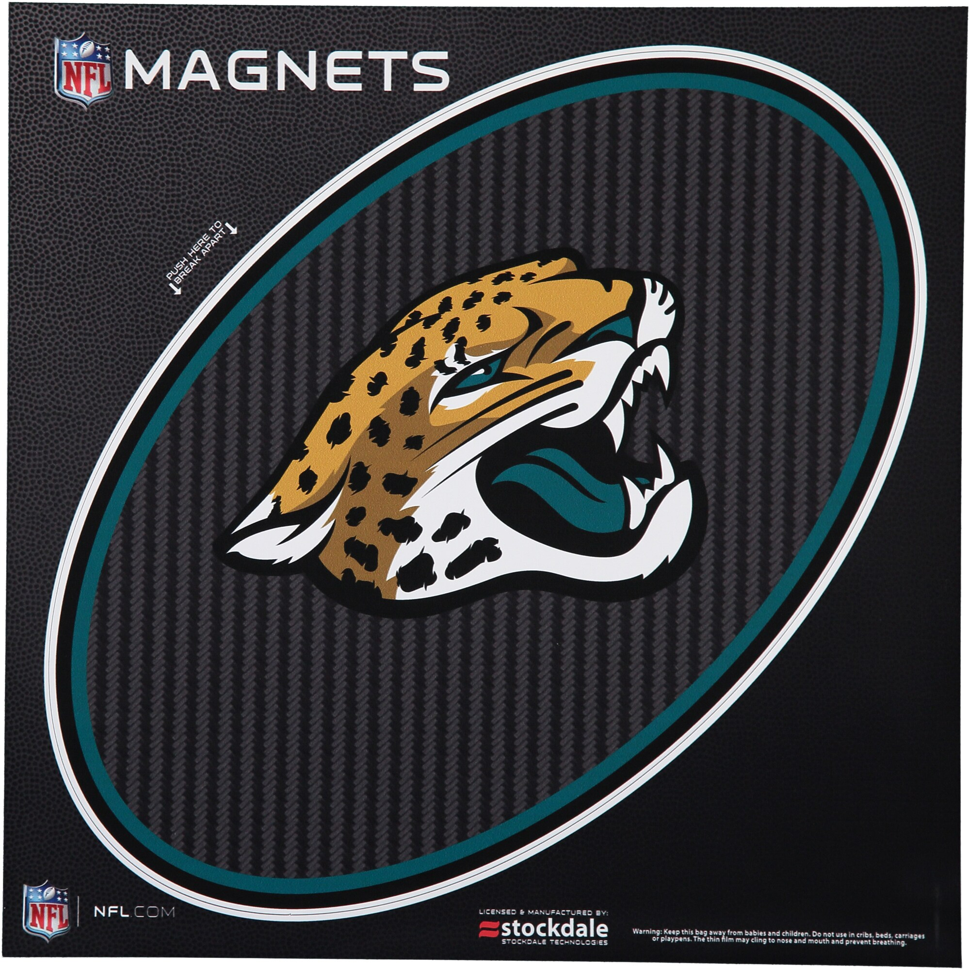 "Jacksonville Jaguars Carbon 12"" x 12"" Oval Full Color Magnet"