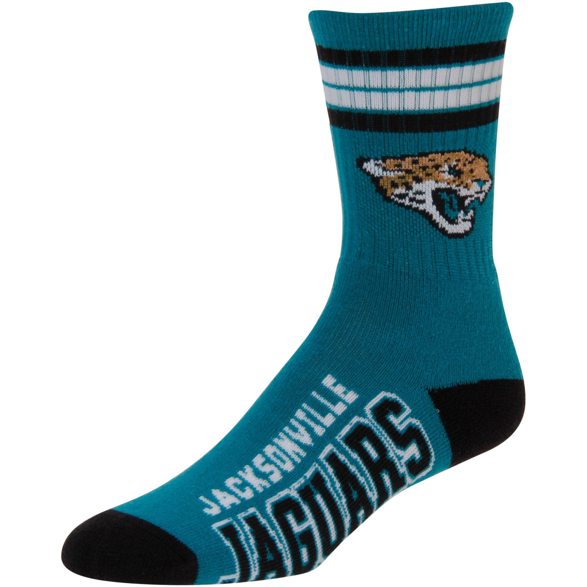 Jacksonville Jaguars For Bare Feet Youth 4-Stripe Deuce Quarter-Length Socks