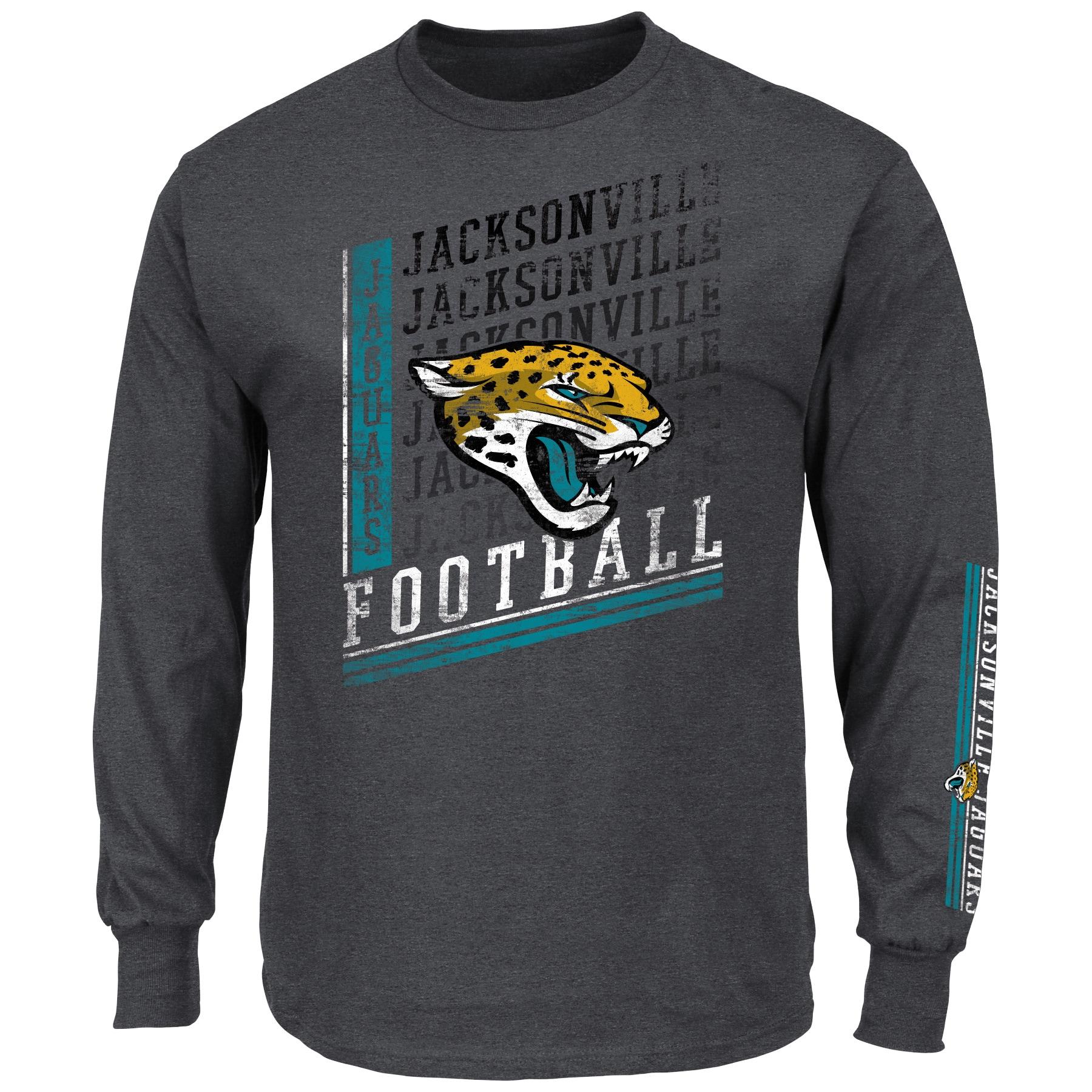 Jacksonville Jaguars Majestic Big & Tall Dual Threat Long Sleeve T-Shirt - Charcoal