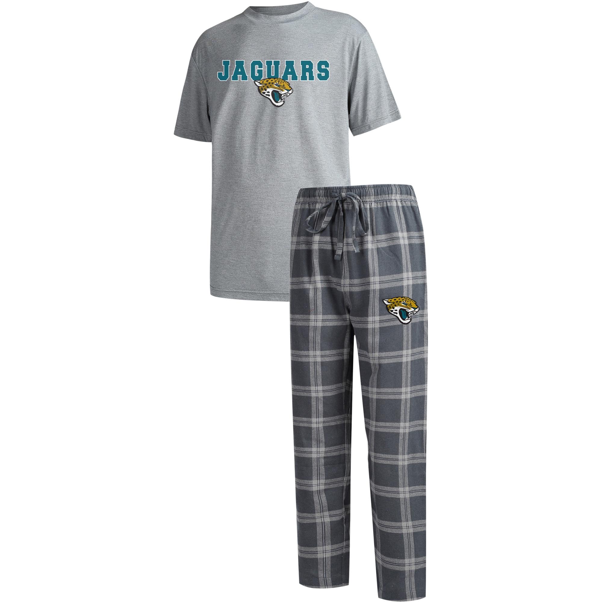 Jacksonville Jaguars Concepts Sport Big & Tall Troupe T-Shirt & Pants Sleep Set - Charcoal/Heathered Gray