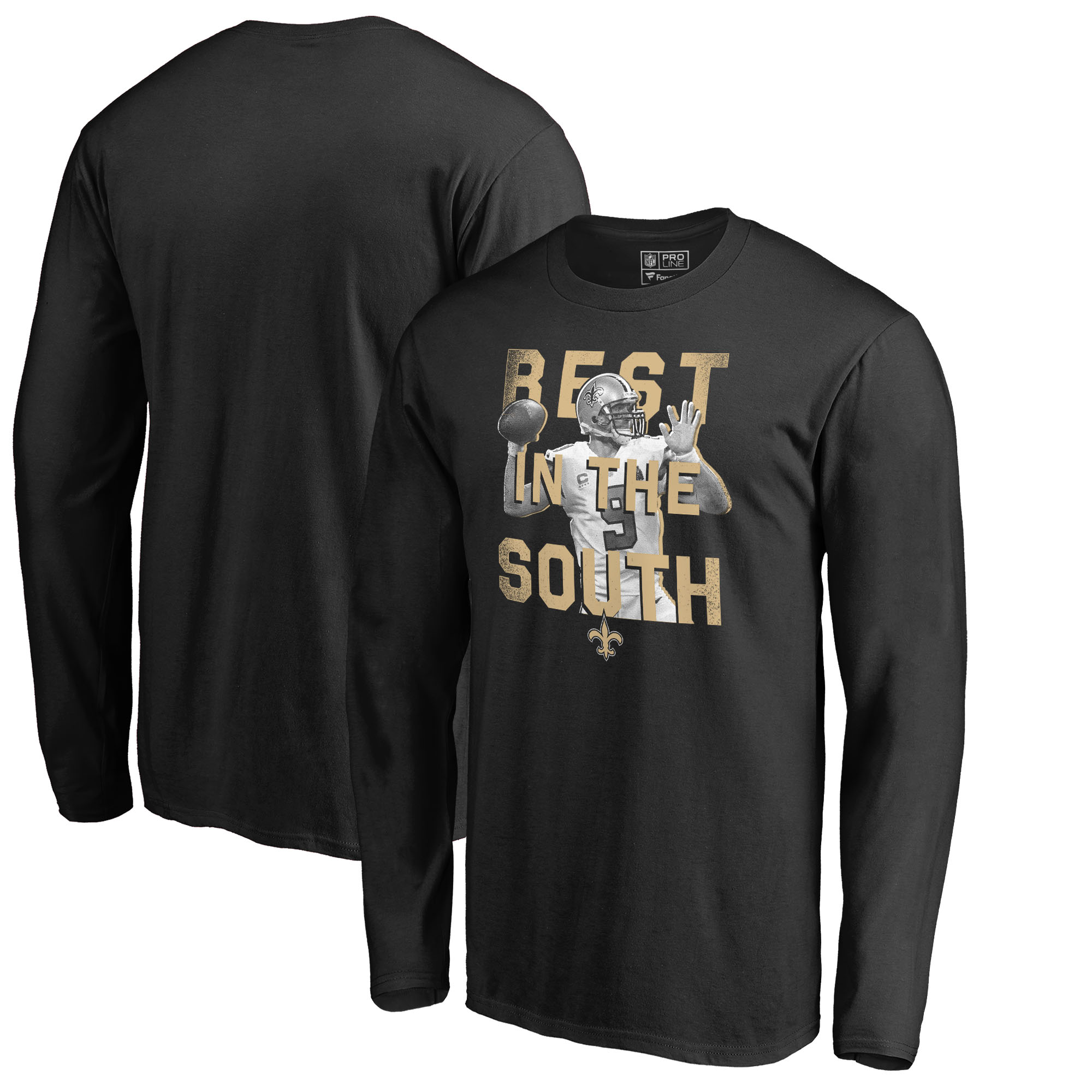 Drew Brees New Orleans Saints NFL Pro Line by Fanatics Branded Hero Long Sleeve T-Shirt - Black