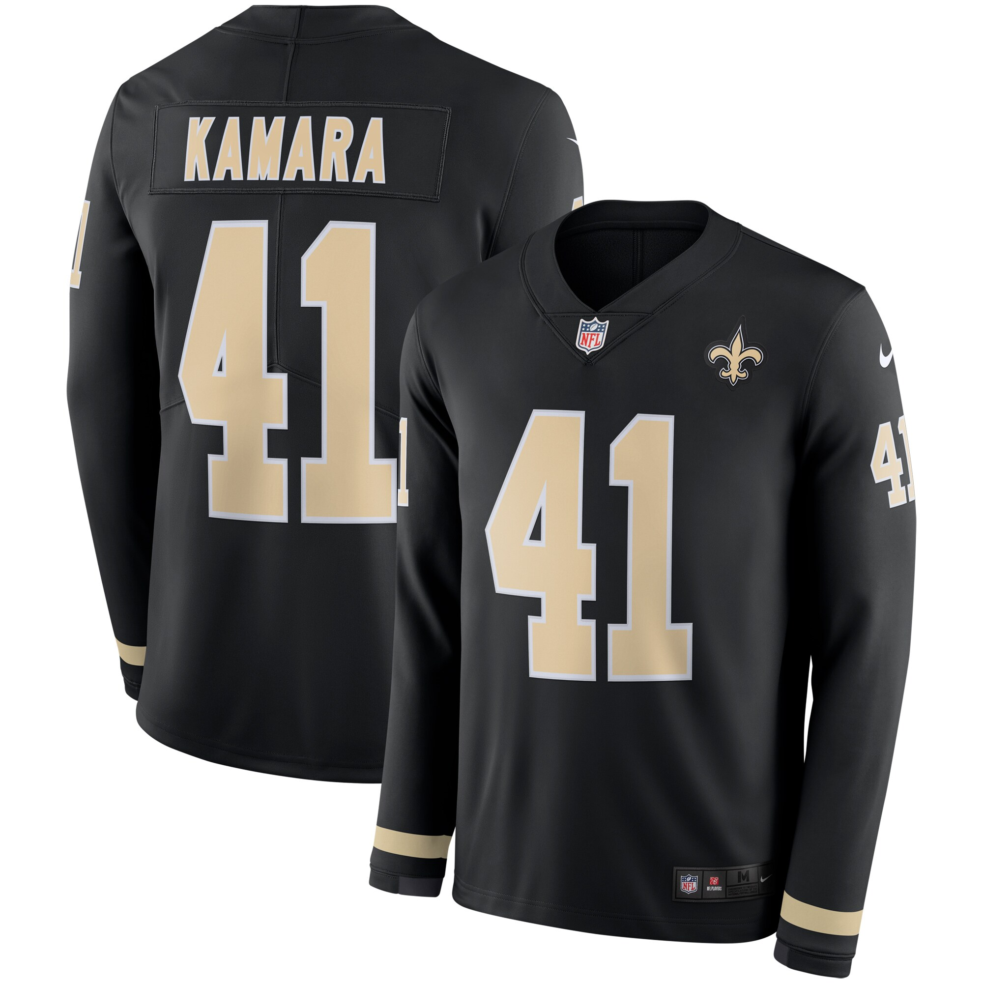 Alvin Kamara New Orleans Saints Nike Therma Long Sleeve Player Jersey - Black
