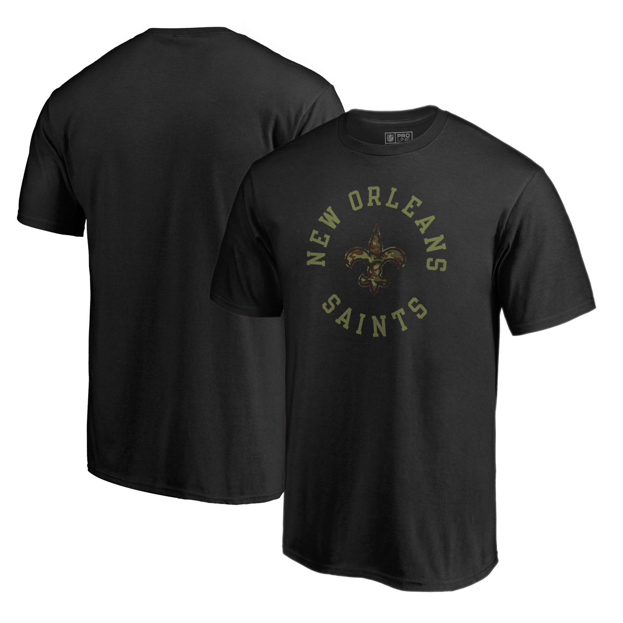 New Orleans Saints NFL Pro Line by Fanatics Branded Camo Collection Liberty Big & Tall T-Shirt - Black