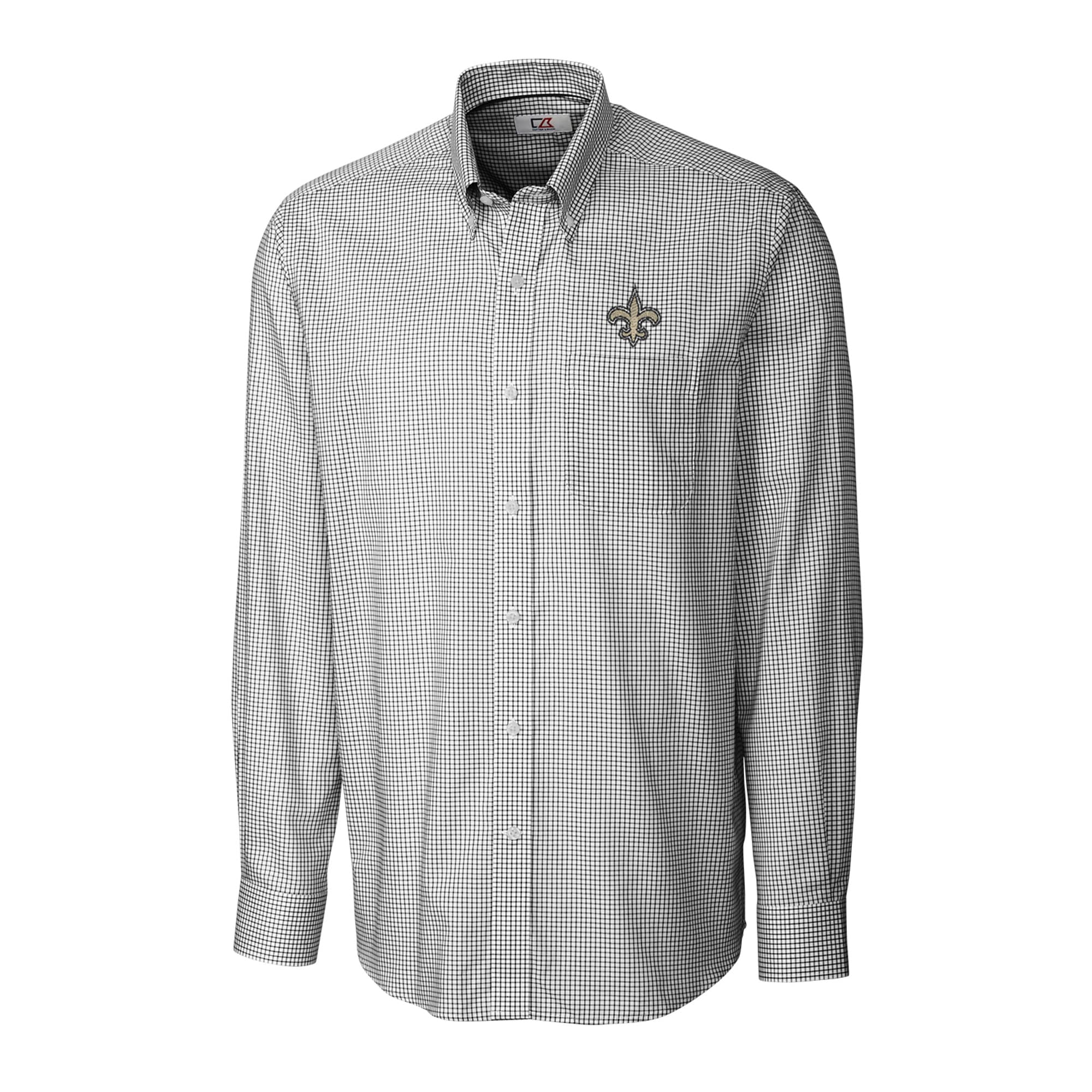 New Orleans Saints Cutter & Buck Big & Tall Epic Easy Care Tattersall Long Sleeve Button Down Shirt - Black