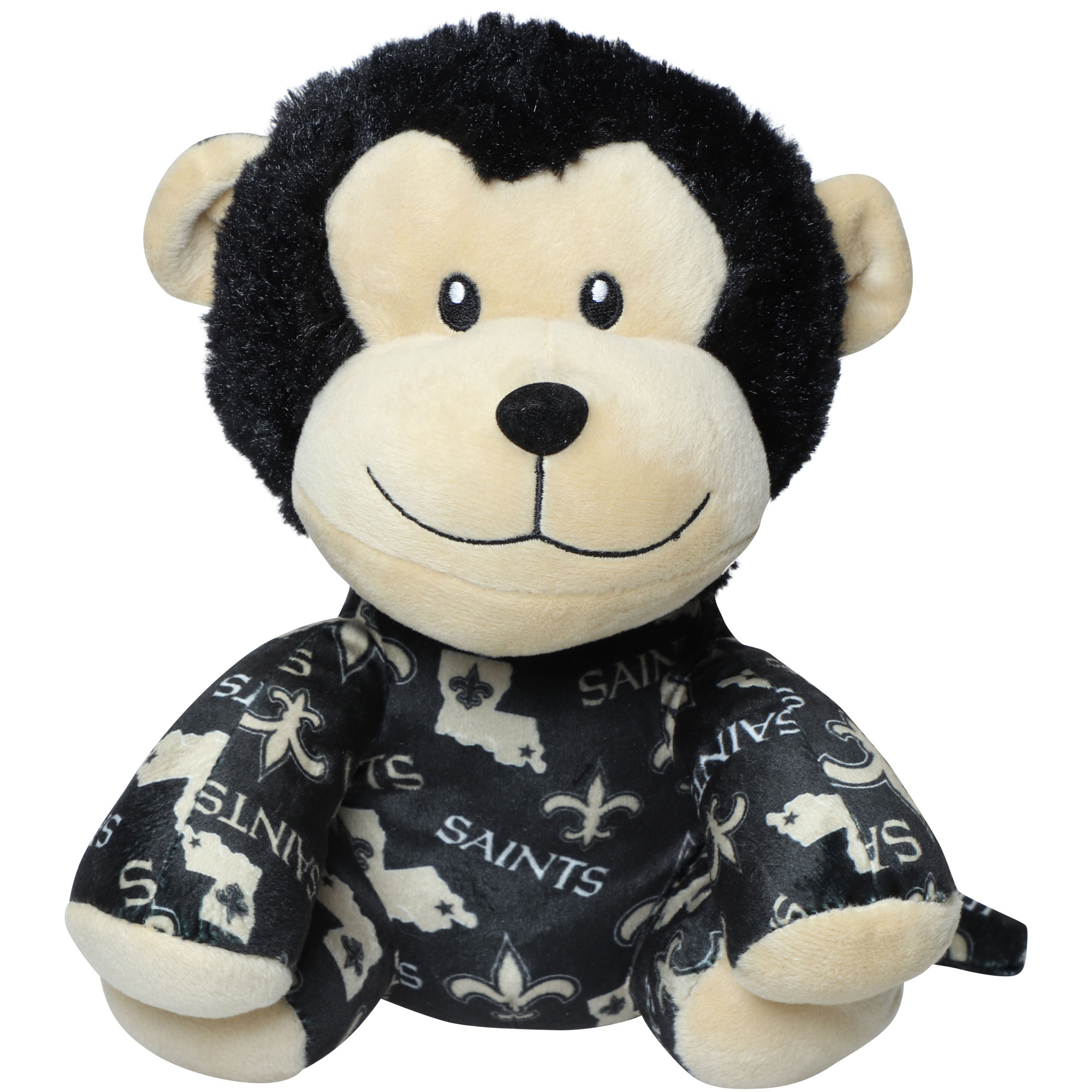 Youth New Orleans Saints All Over Print Seated Mitchie Monkey Plush Toy