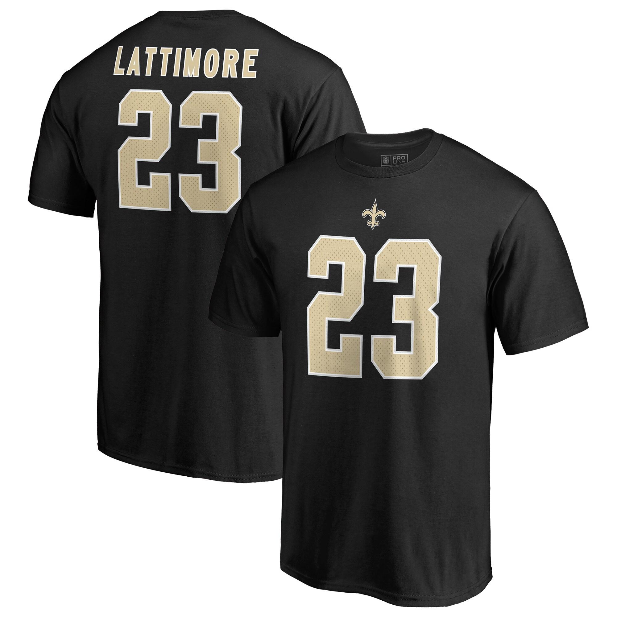 Marshon Lattimore New Orleans Saints NFL Pro Line by Fanatics Branded Authentic Stack Name & Number T-Shirt - Black