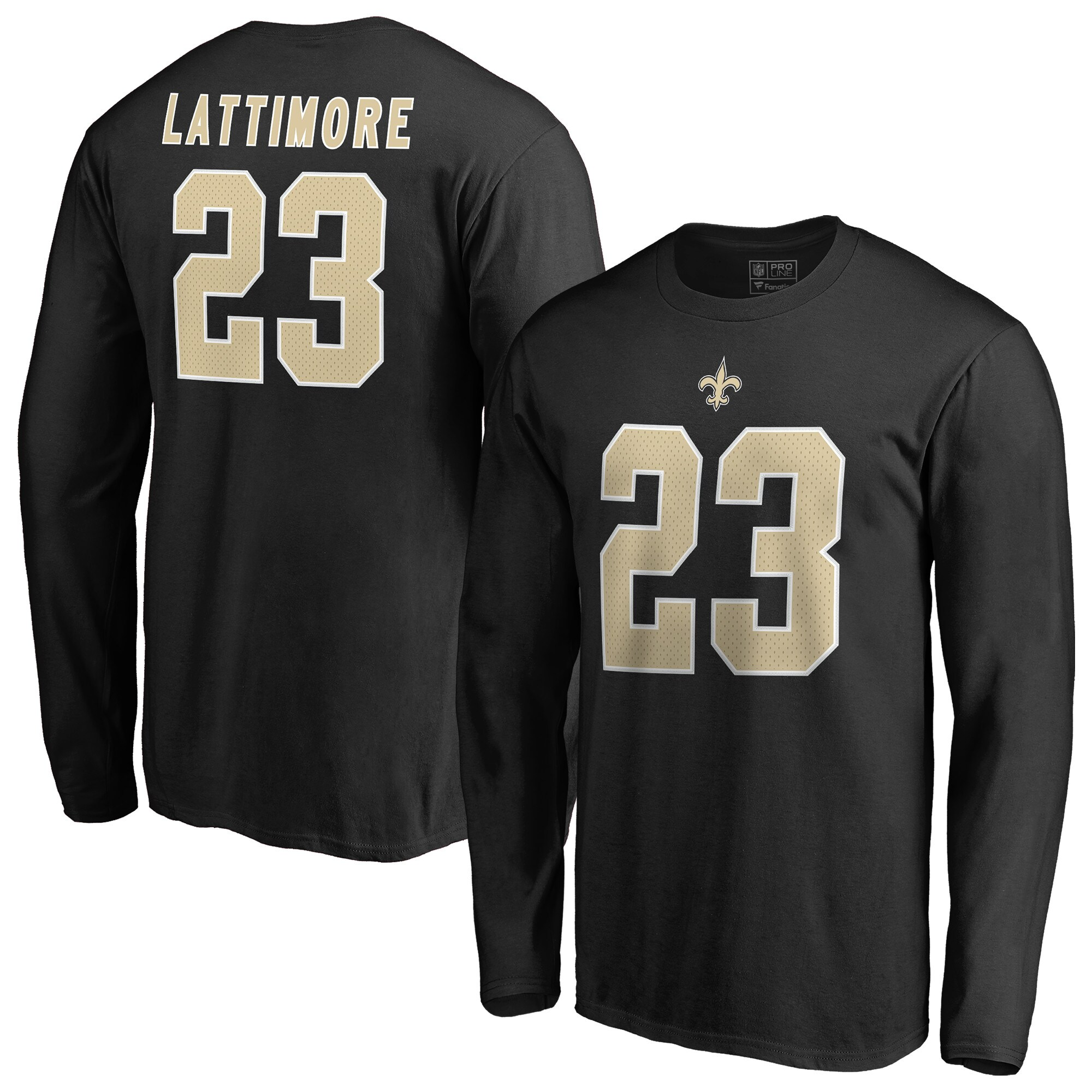 Marshon Lattimore New Orleans Saints NFL Pro Line by Fanatics Branded Authentic Stack Name & Number Long Sleeve T-Shirt - Black